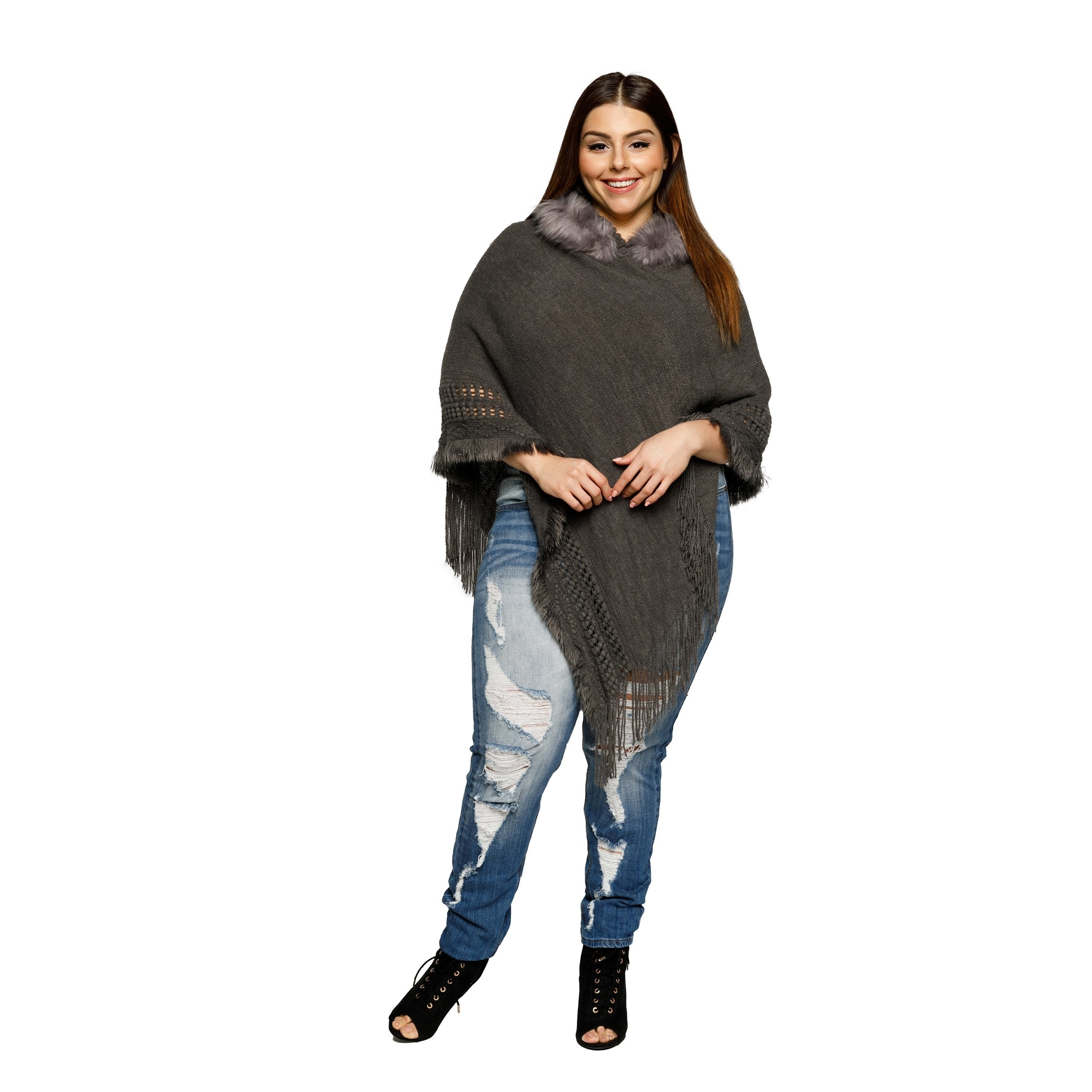 735d9683d0a44 Shop Xehar Womens Plus Size Fringe Faux Fur Trim Hoodie Poncho Sweater -  Free Shipping On Orders Over  45 - Overstock - 18529833
