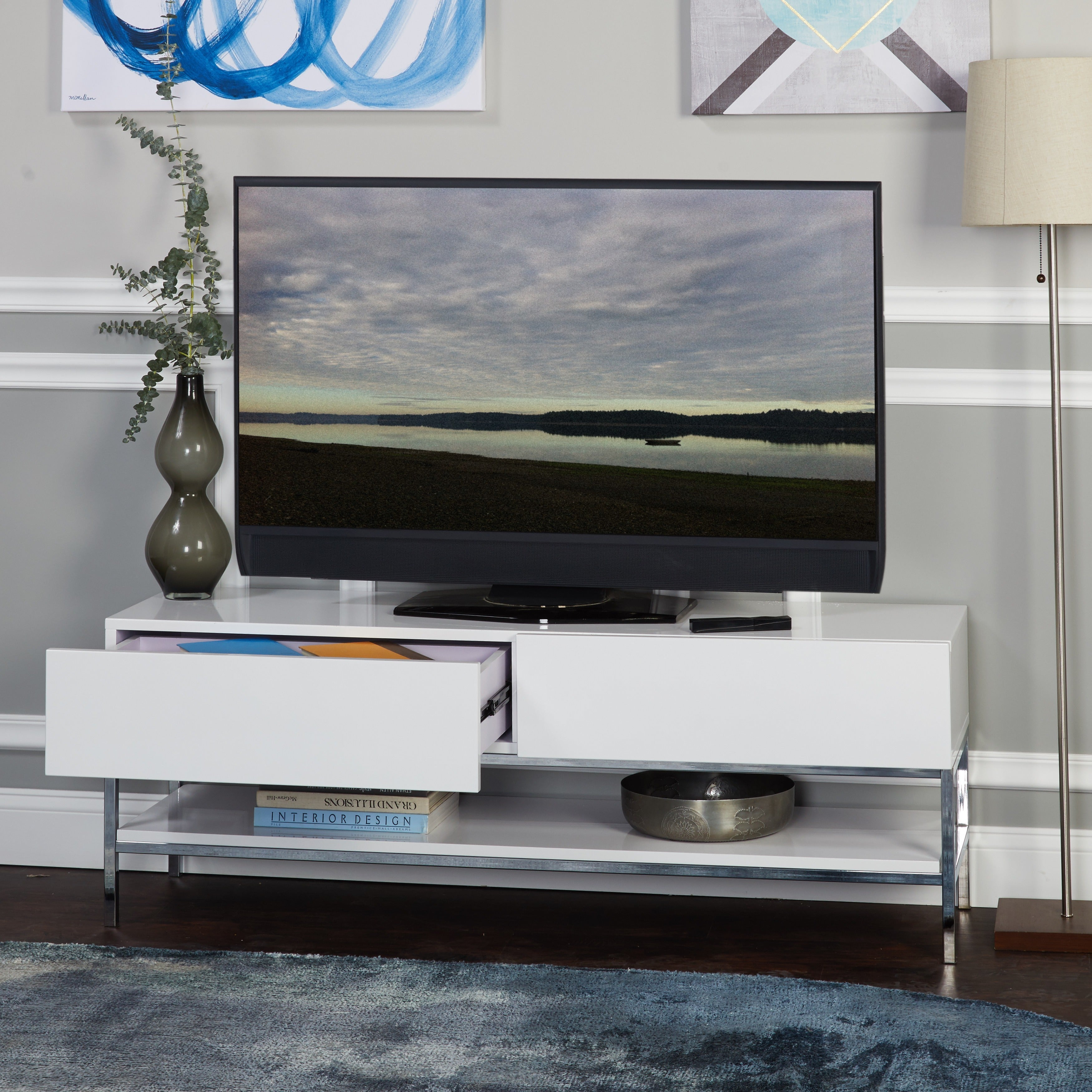 Shop Simple Living Lewis White High Gloss Tv Stand Free Shipping