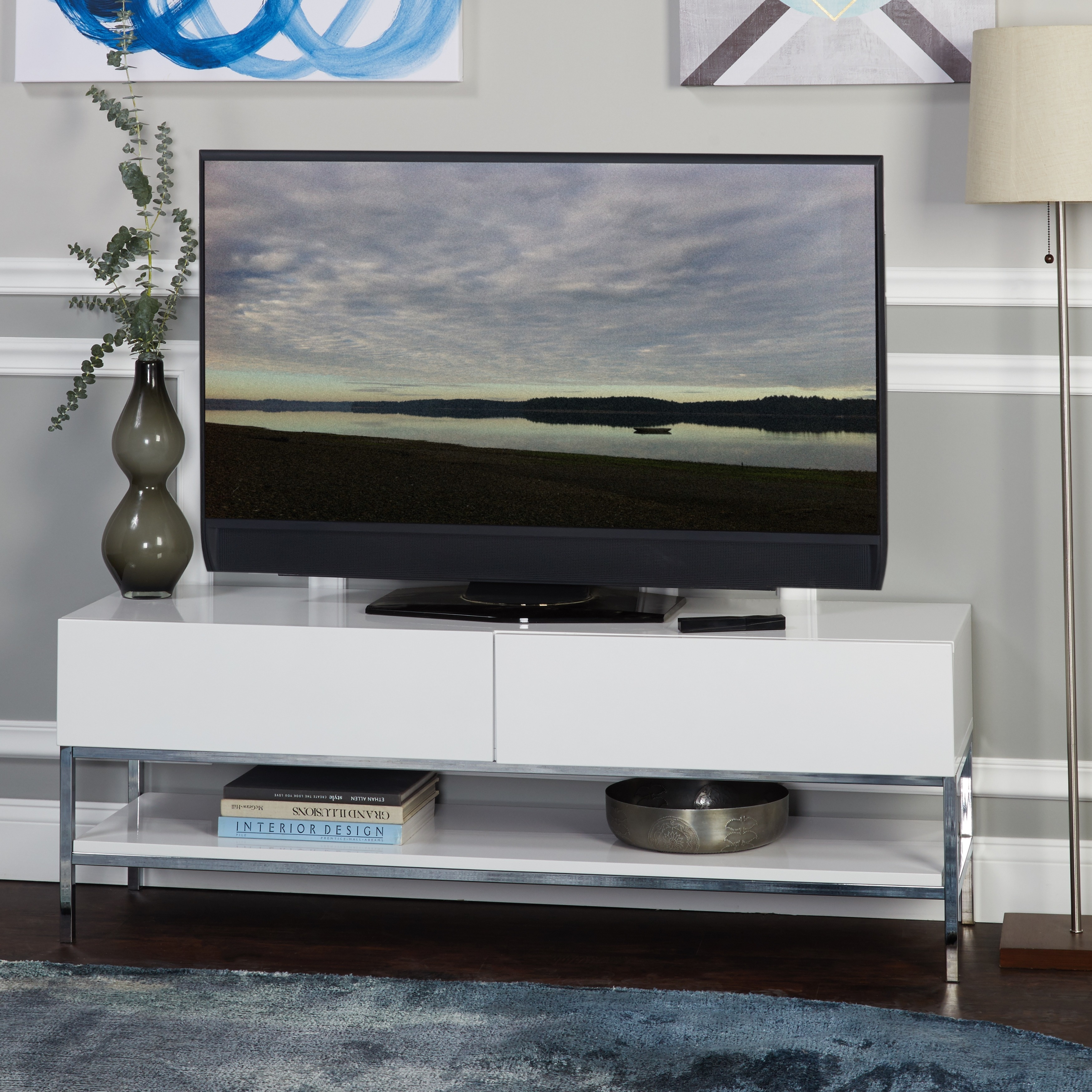 Shop Simple Living Lewis White High Gloss Tv Stand On Sale Free