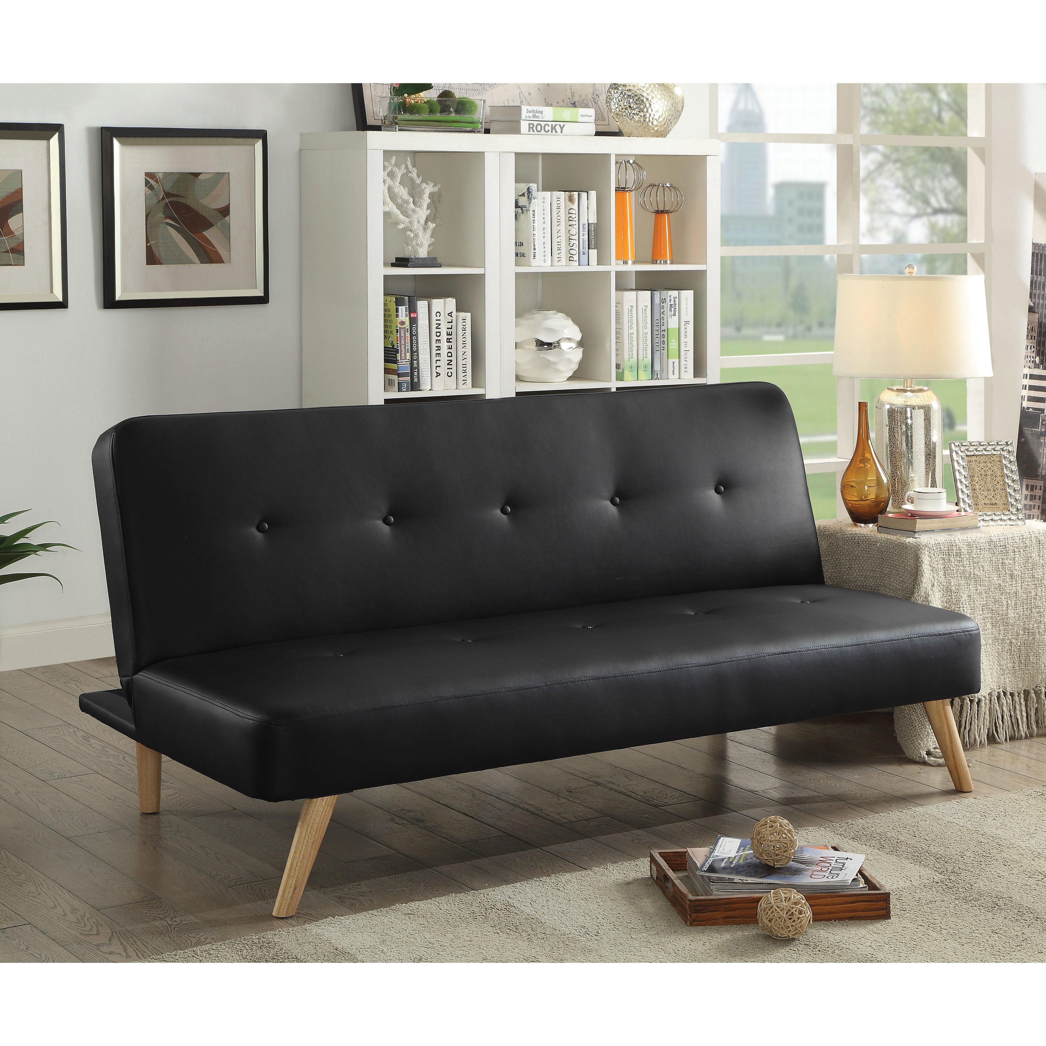 Shop Furniture Of America Merlam Faux Leather Futon Sofa Free
