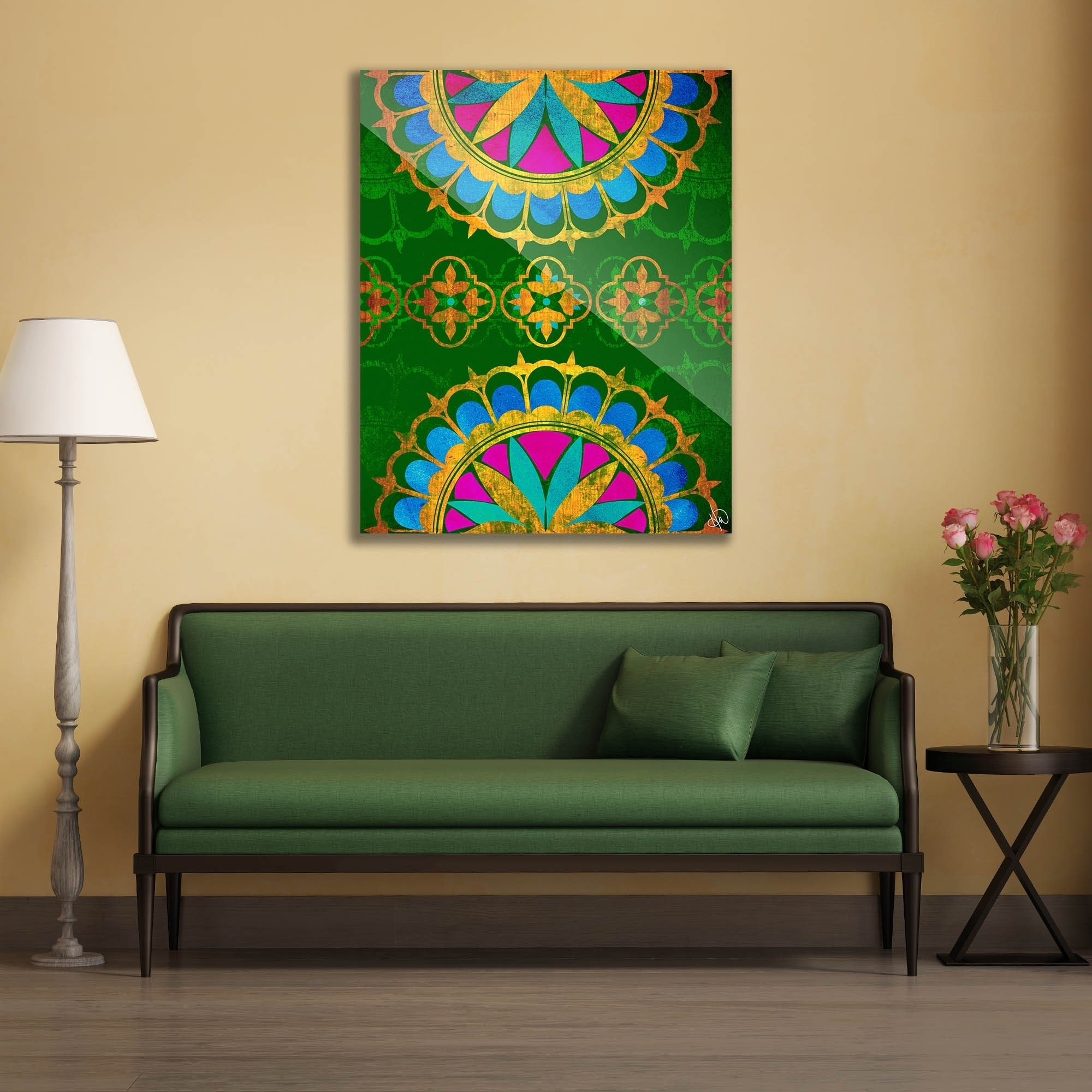 Shop Golden Henna on Emerald Wall Art Print on Acrylic - Free ...