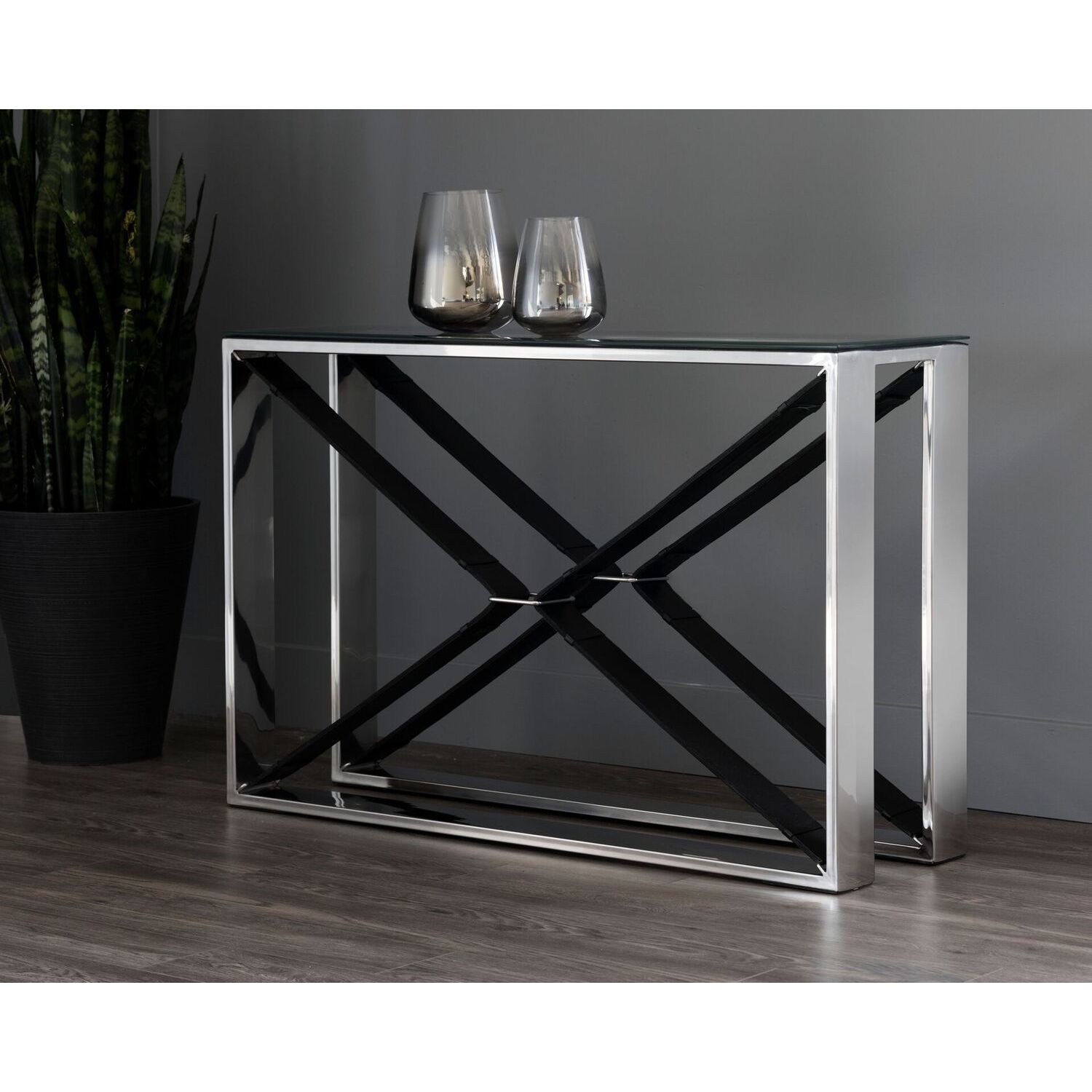 Shop Mavis Black Leather Stainless Steel Console Table   On Sale   Free  Shipping Today   Overstock.com   18536183