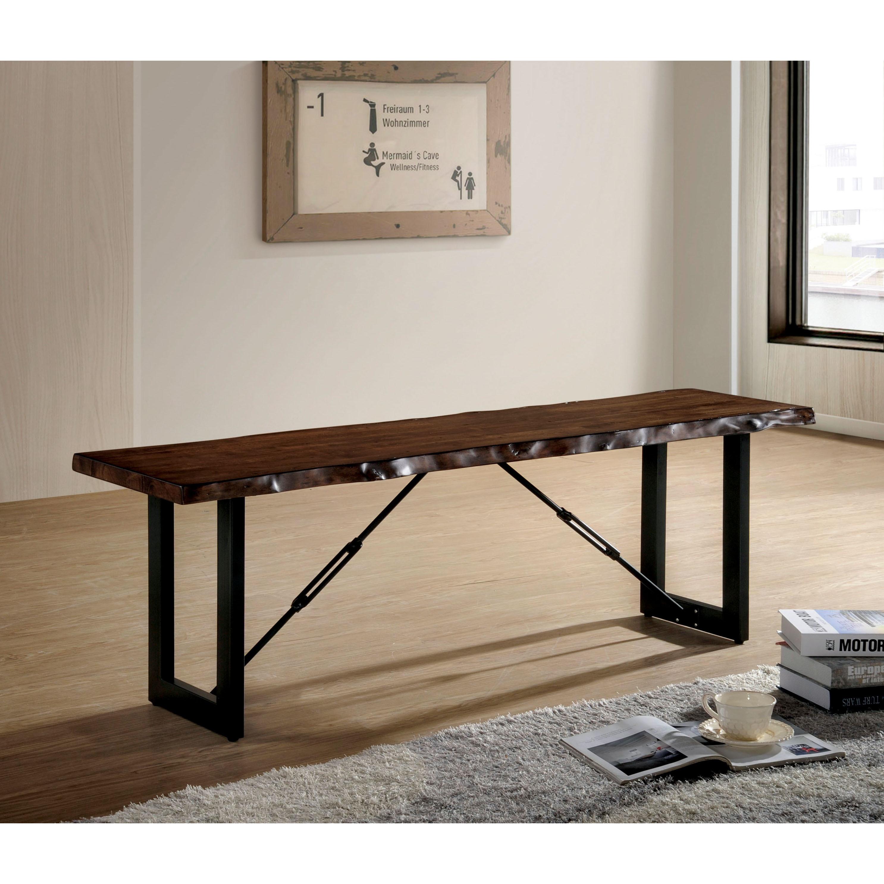 Furniture of america terele rustic industrial walnut wood metal 54 inch bench