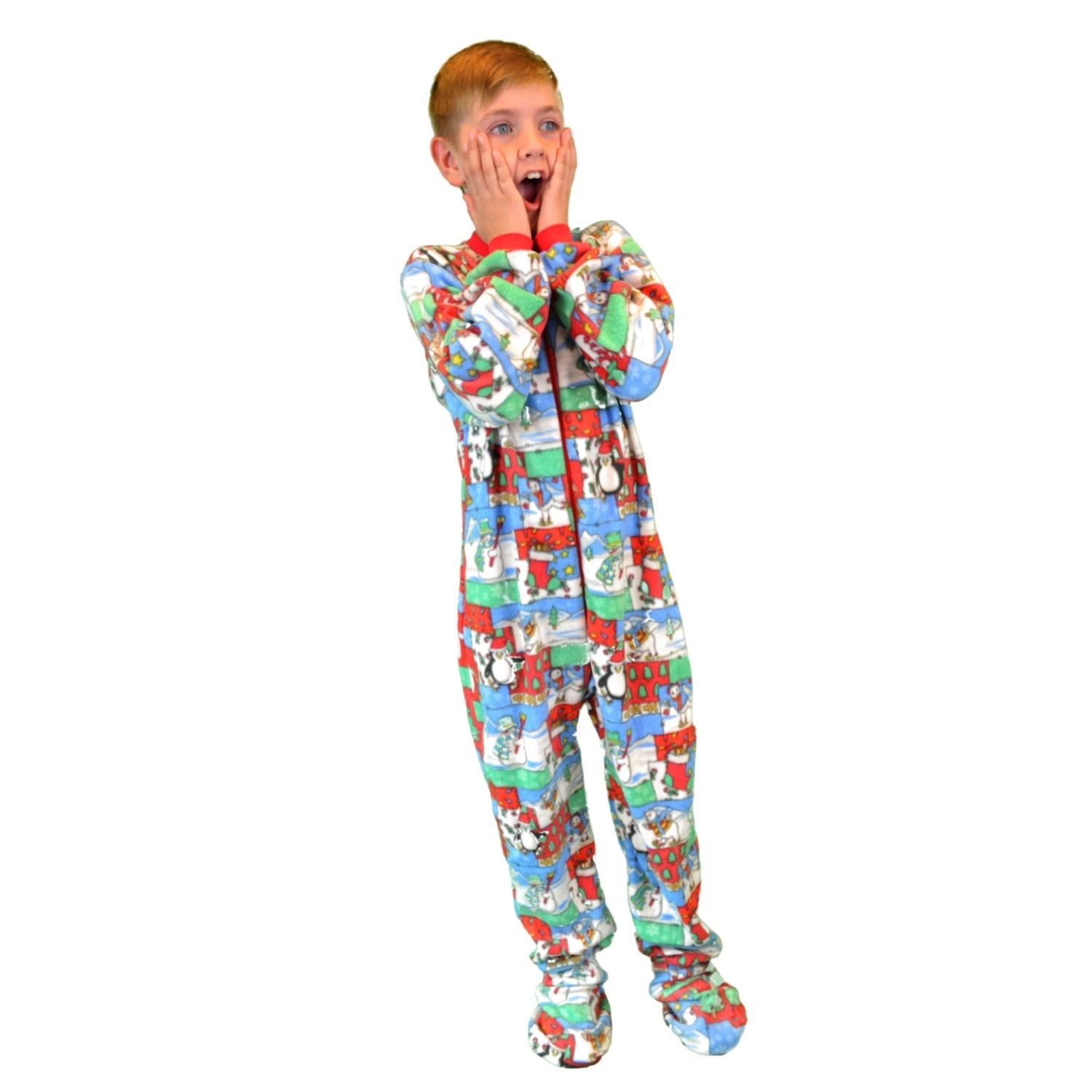 f470150d3073 Shop Kids Fleece Christmas One Piece Footed Pajamas Sleeper - Free ...