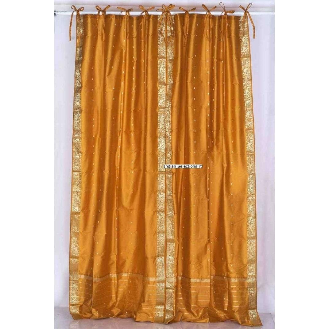Shop Mustard Tie Top Sheer Sari Curtain Drape Panel Pair On