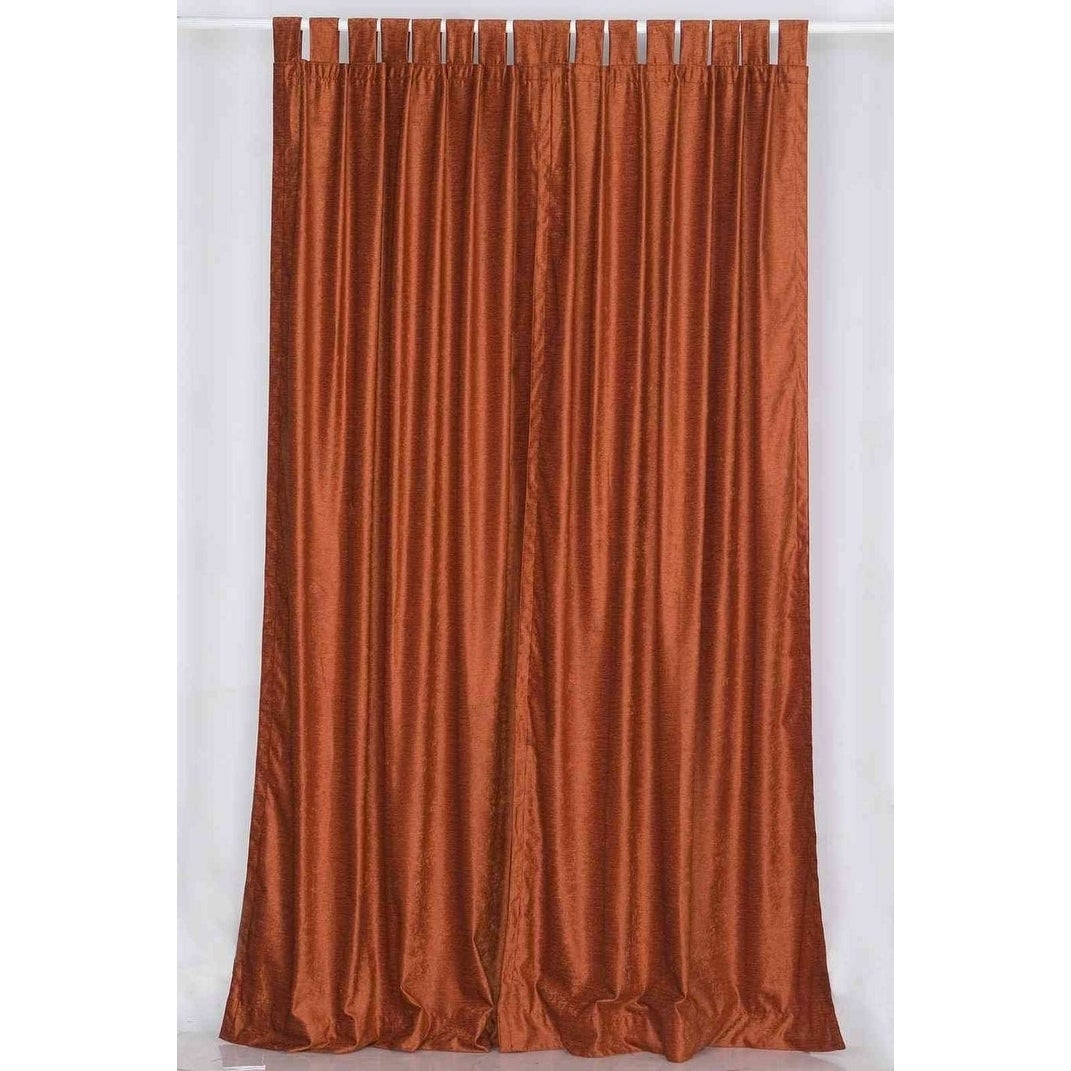 Shop Rust Tab Top Velvet Curtain / Drape / Panel - Piece - On Sale ...