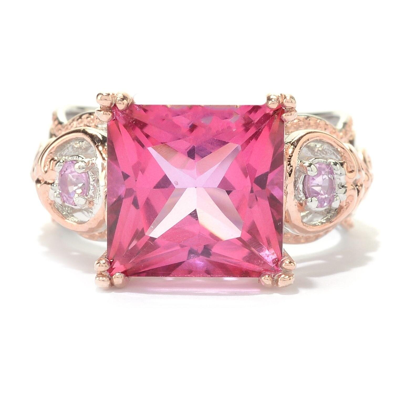 Michael Valitutti Palladium Silver Princess Cut Pink Topaz & Pink ...