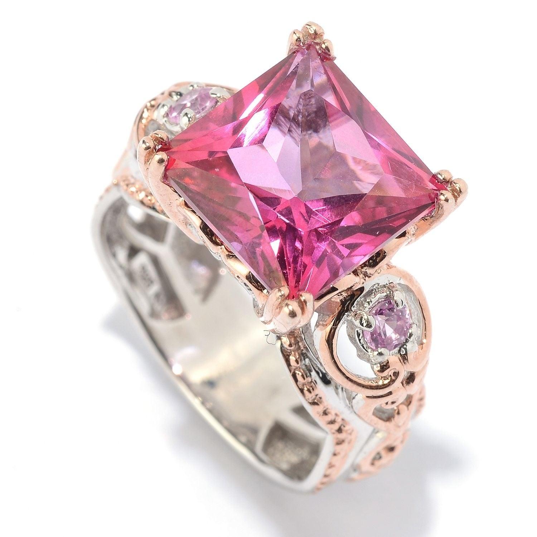 Shop Michael Valitutti Palladium Silver Princess Cut Pink Topaz ...