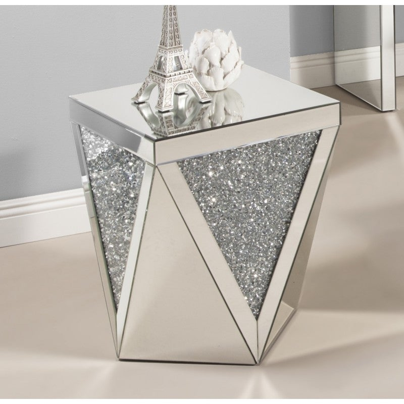 Shop Best Quality Furniture Mirrored Crystal 2 Piece Coffee And End Table Set