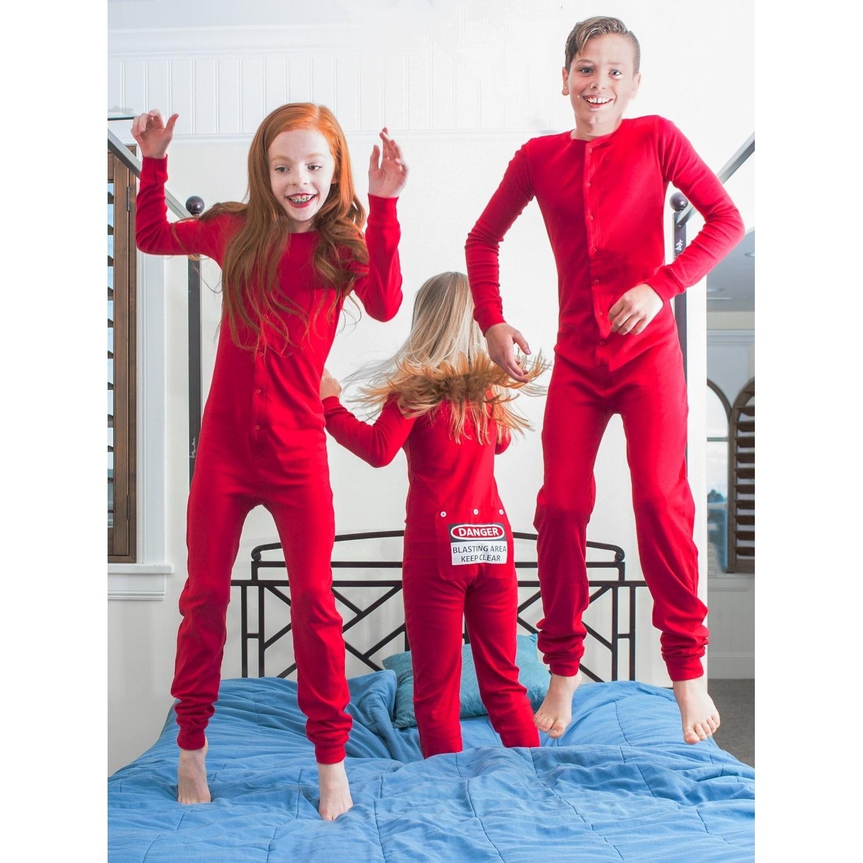 cb618adac Shop Red Union Suit Kids Pajamas DANGER BLAST AREA Sign on Rear Flap ...