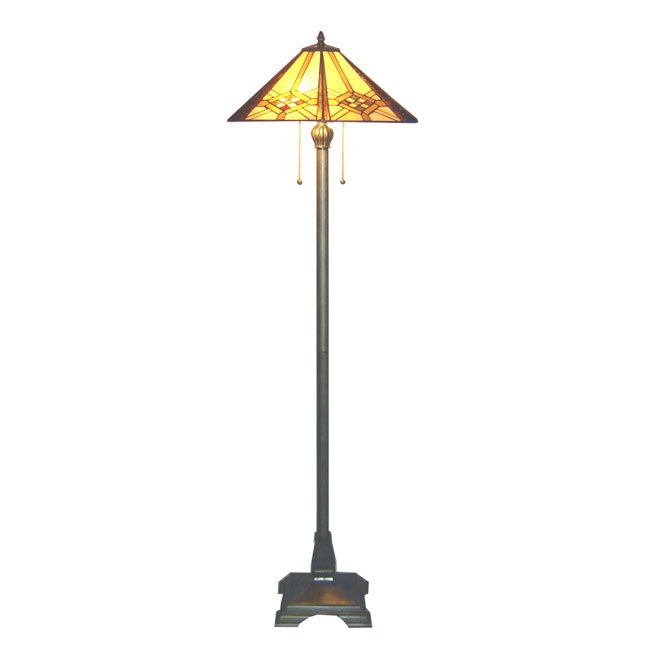 Shop Tiffany Style Hex Mission Floor Lamp   Free Shipping Today    Overstock.com   1857486