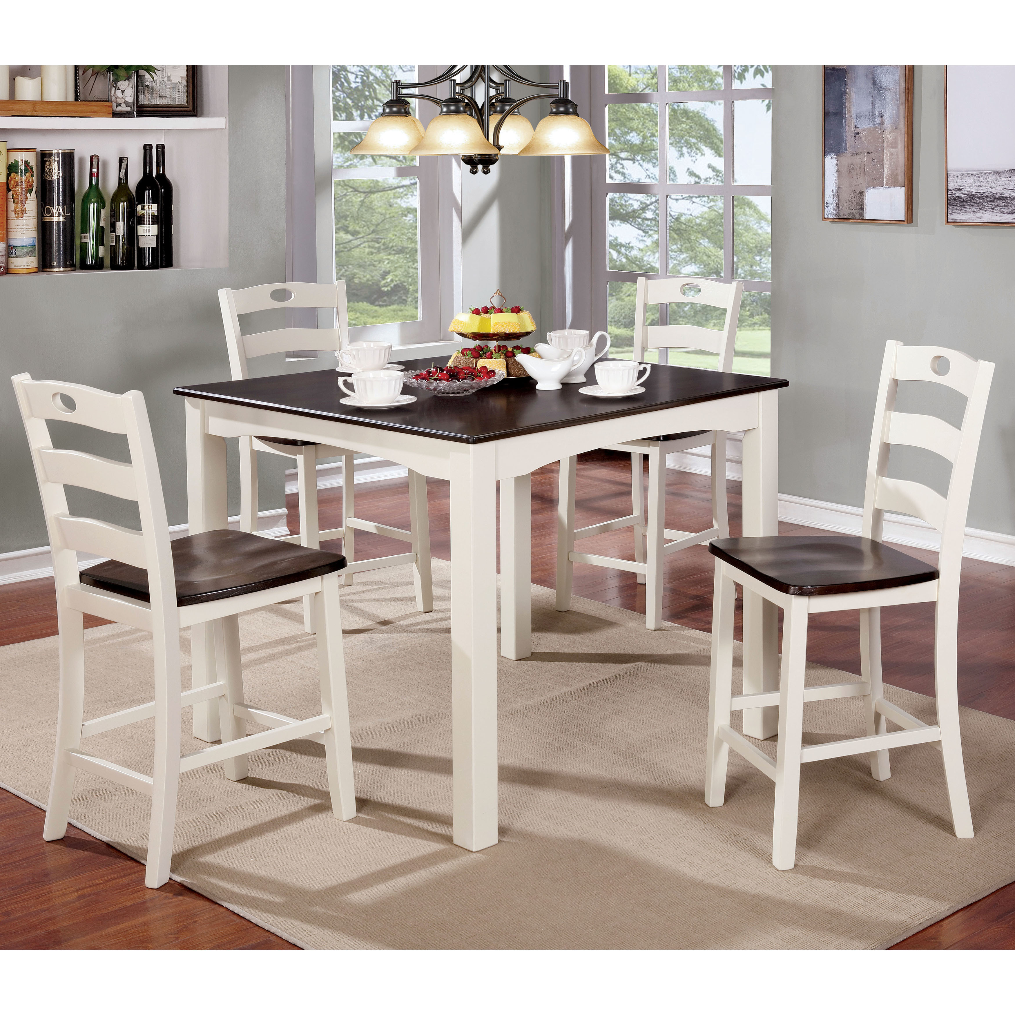 Maison Rouge Eliza Cottage Style 5-piece Two-tone Counter Height Dining Set