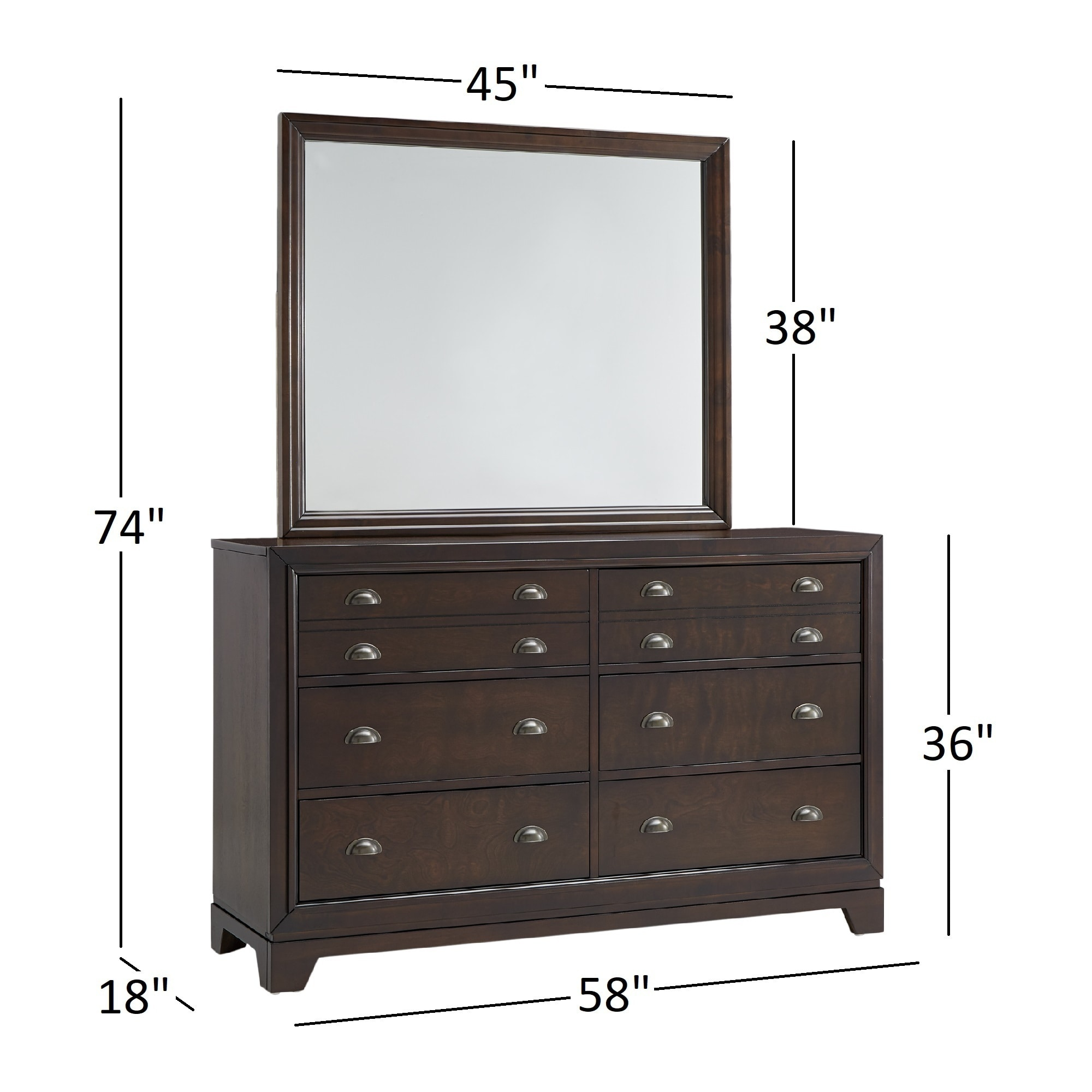 Oliver Dark Walnut 6-Drawer Wood Dresser and Mirror by iNSPIRE Q Classic -  Free Shipping Today - Overstock.com - 24689815