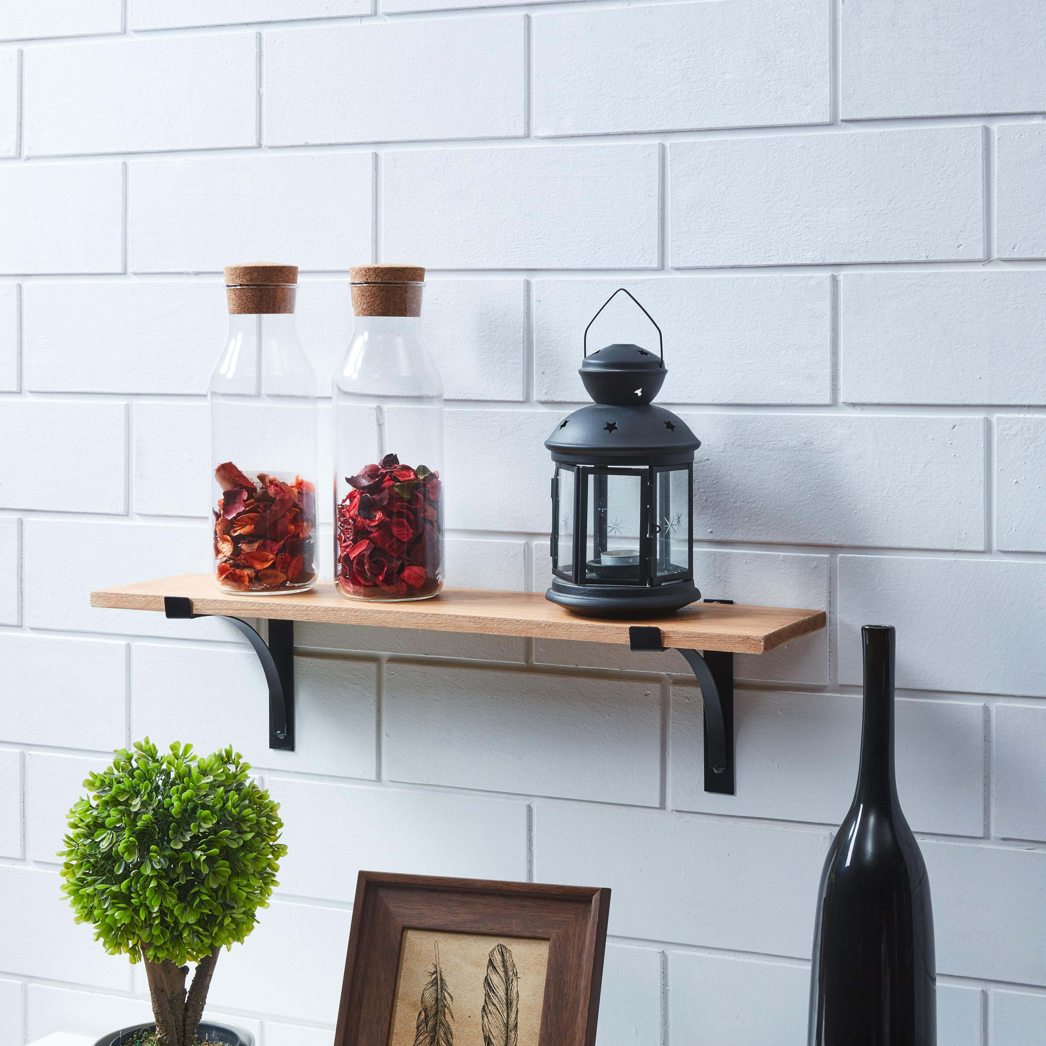 Shop Danya B. Pine Shelf with Metal Brackets - Free Shipping On ...