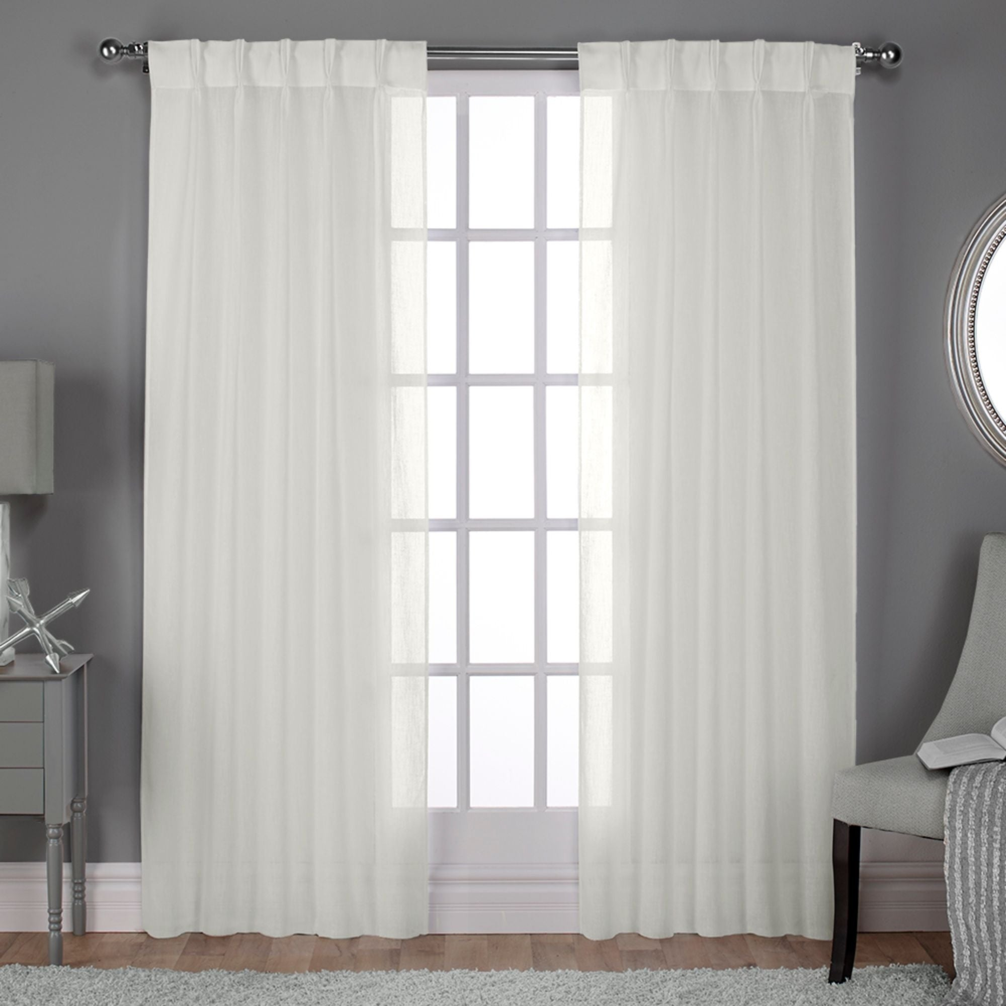 Ati Home Belgian Jacquard Sheer Double Pinch Pleat Top Curtain Panel Pair Overstock 18590734