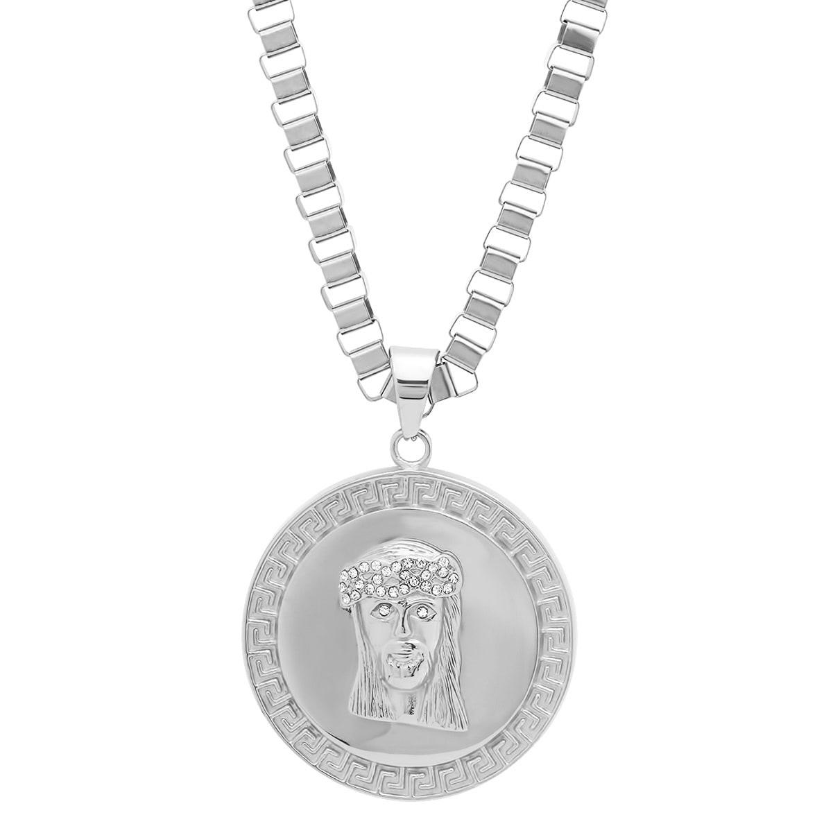 Shop steeltime mens stainless steel cubic zirconia jesus head shop steeltime mens stainless steel cubic zirconia jesus head pendant with greek key in 2 colors free shipping on orders over 45 overstock aloadofball Gallery