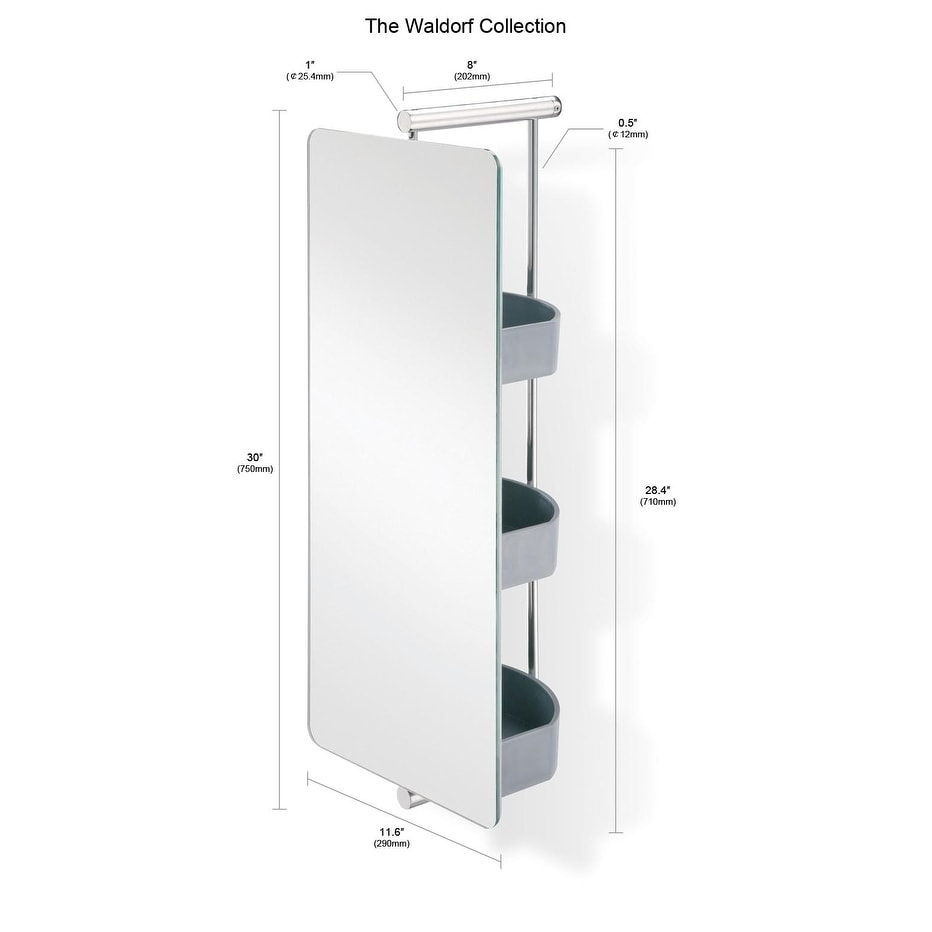 Shop Waldorf Stainless Steel Swivel Mirror With Storage   N/A   Free  Shipping Today   Overstock.com   18591744