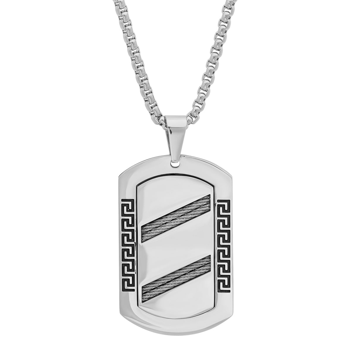 Shop Steeltime Men\'s Stainless Steel Greek Key Dog Tag with Cable ...