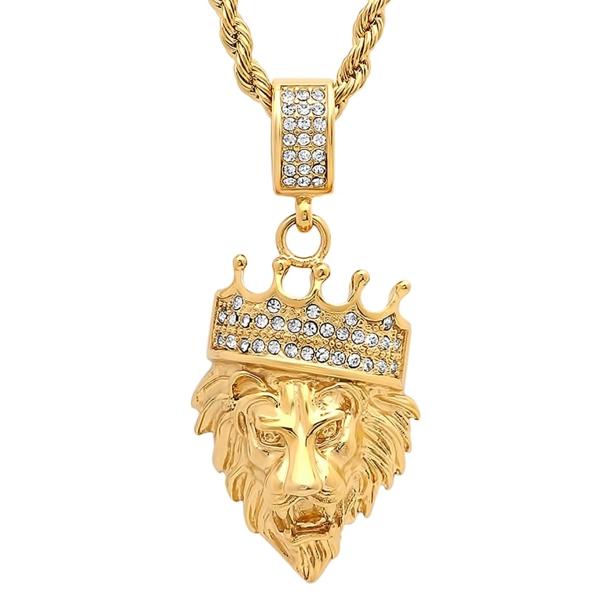 Shop Steeltime Men\'s Gold Tone Stainless Steel Lion with Crown Cubic ...