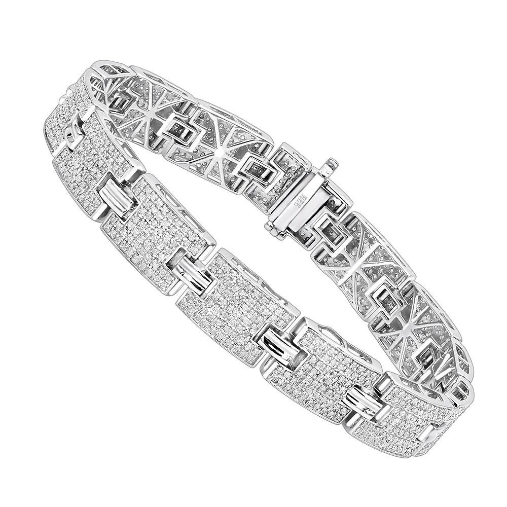 Luxurman Sterling Silver Bracelets Mens Diamond Bracelet 3 5 Ct Free Shipping Today 18594133