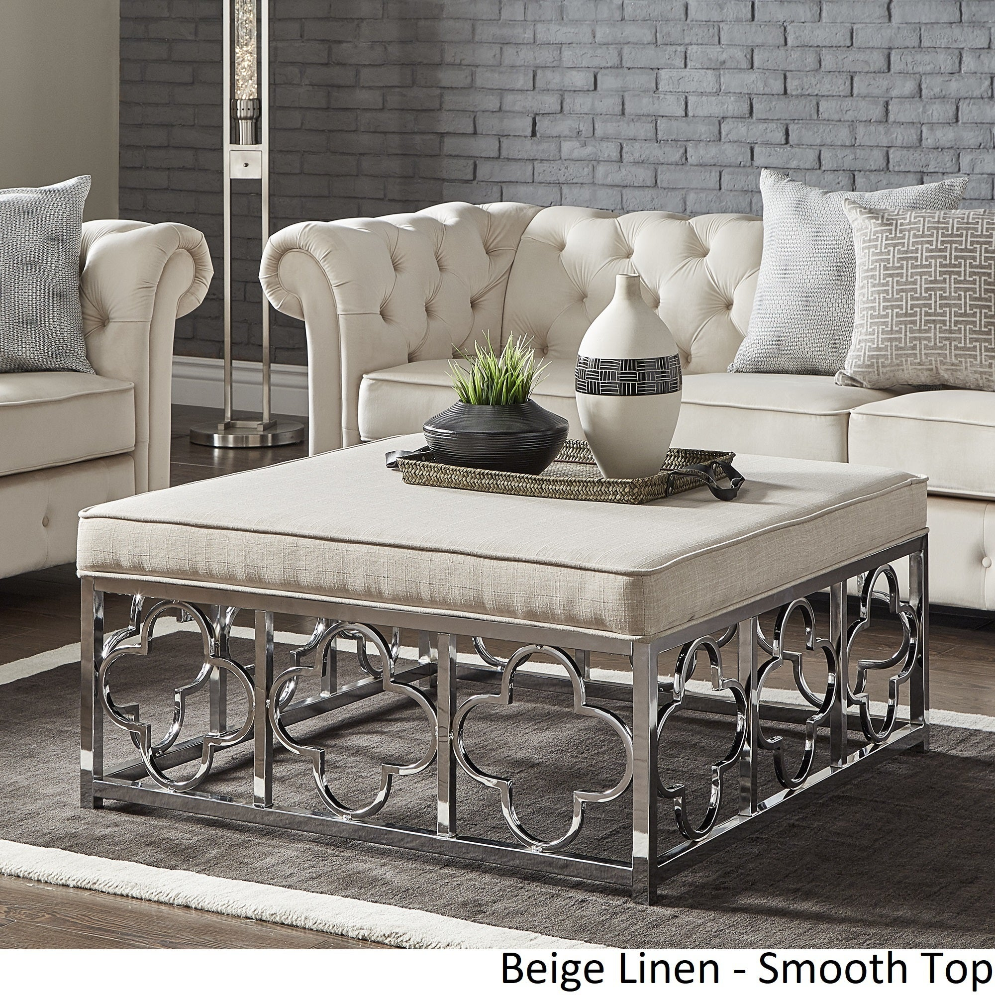 Bon Shop Solene Chrome Quatrefoil Base Square Ottoman Coffee Table By INSPIRE Q  Bold   Free Shipping Today   Overstock.com   18594315