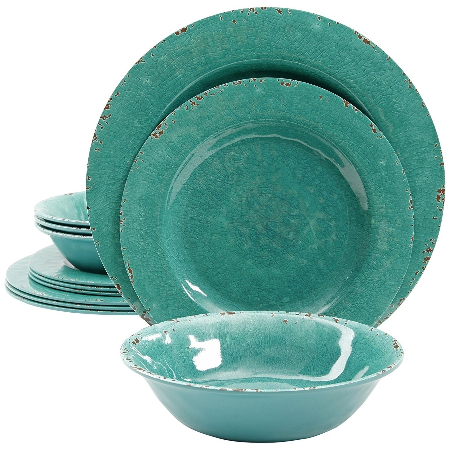 e84e9f01b6c Shop Rustic 12 Pcs. Durable Melamine Dinner set For 4 Person - Green - On  Sale - Free Shipping On Orders Over  45 - Overstock - 18595467