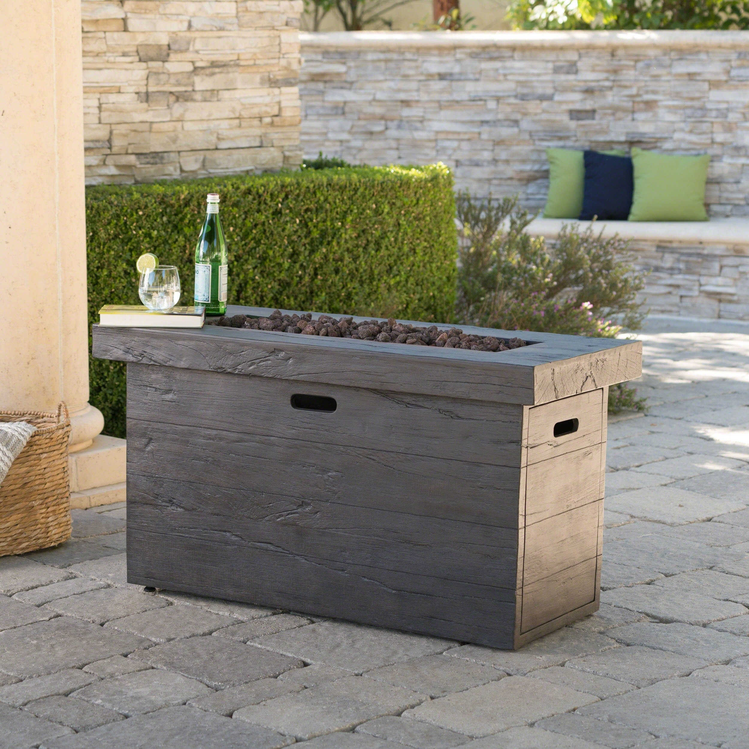 Shop Custer Outdoor Rectangular Propane Fire Pit Table With Lava