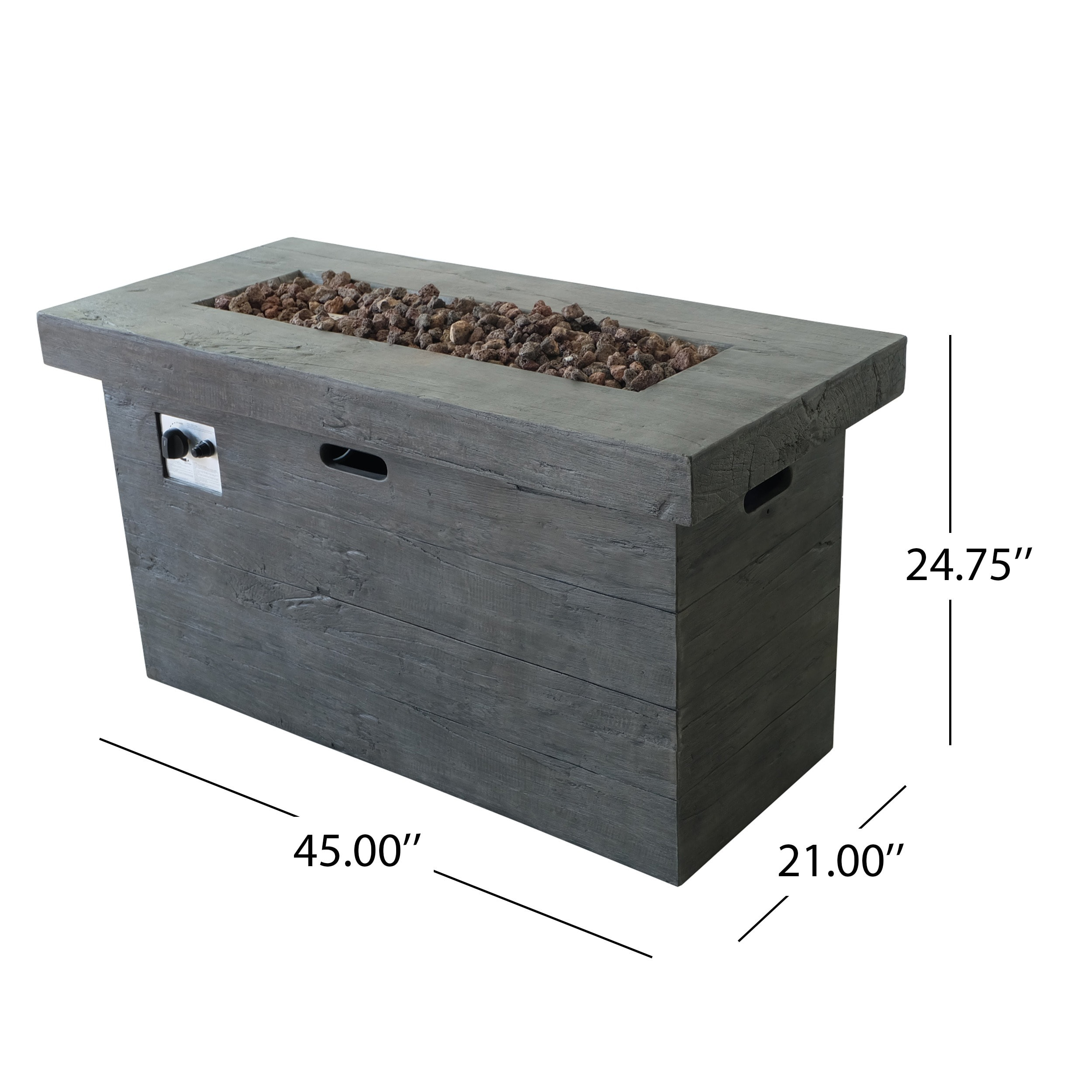 Custer Outdoor Rectangular Propane Fire Pit Table With Lava Rocks By Christopher Knight Home On Free Shipping Today 18599744