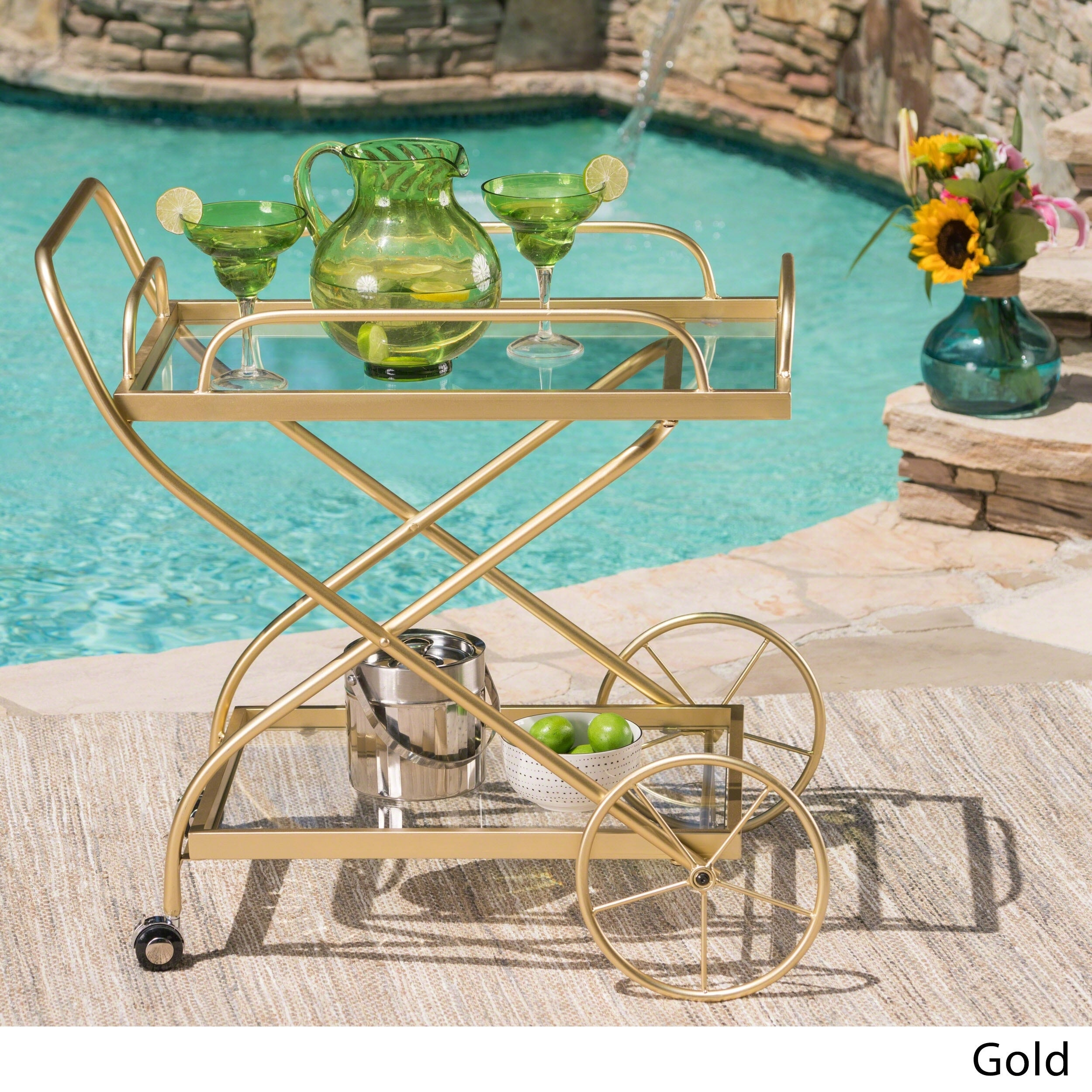 Shop Indio Outdoor Traditional Iron Glass Bar Cart with Shelves by ...