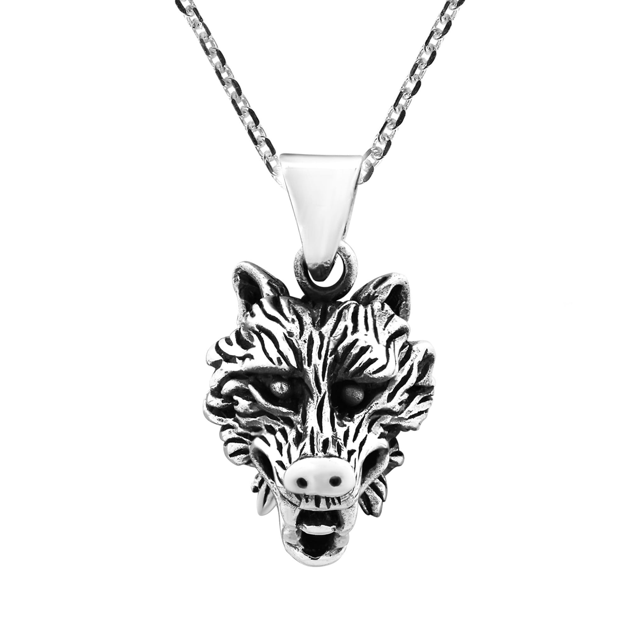 on free and overstock pendant thailand jewelry shipping sterling orders fierce over silver product wolf necklace watches chain noble com head