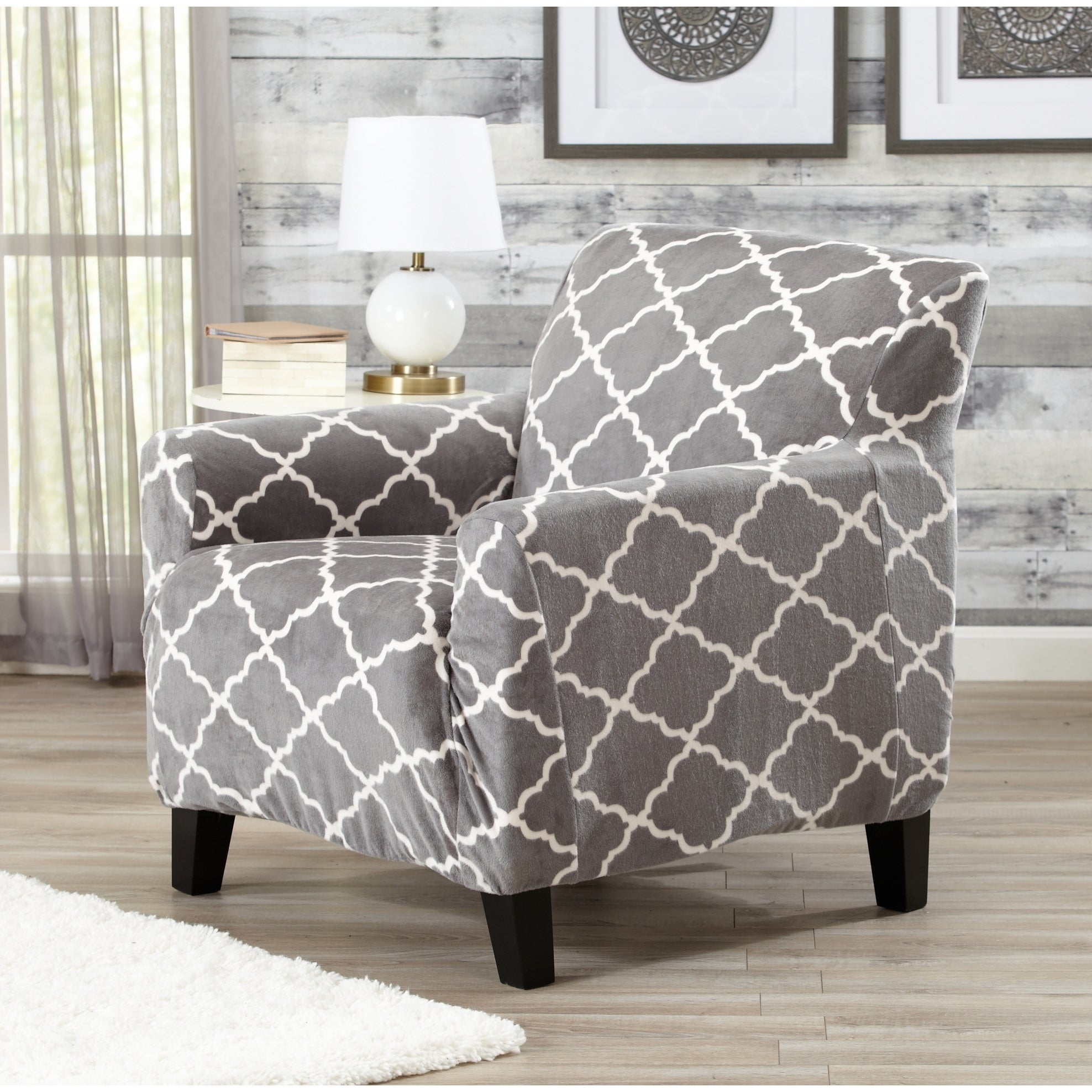Great Bay Home Printed Velvet Plush Form Fit Chair Slipcover Free Shipping On Orders Over 45 18606780