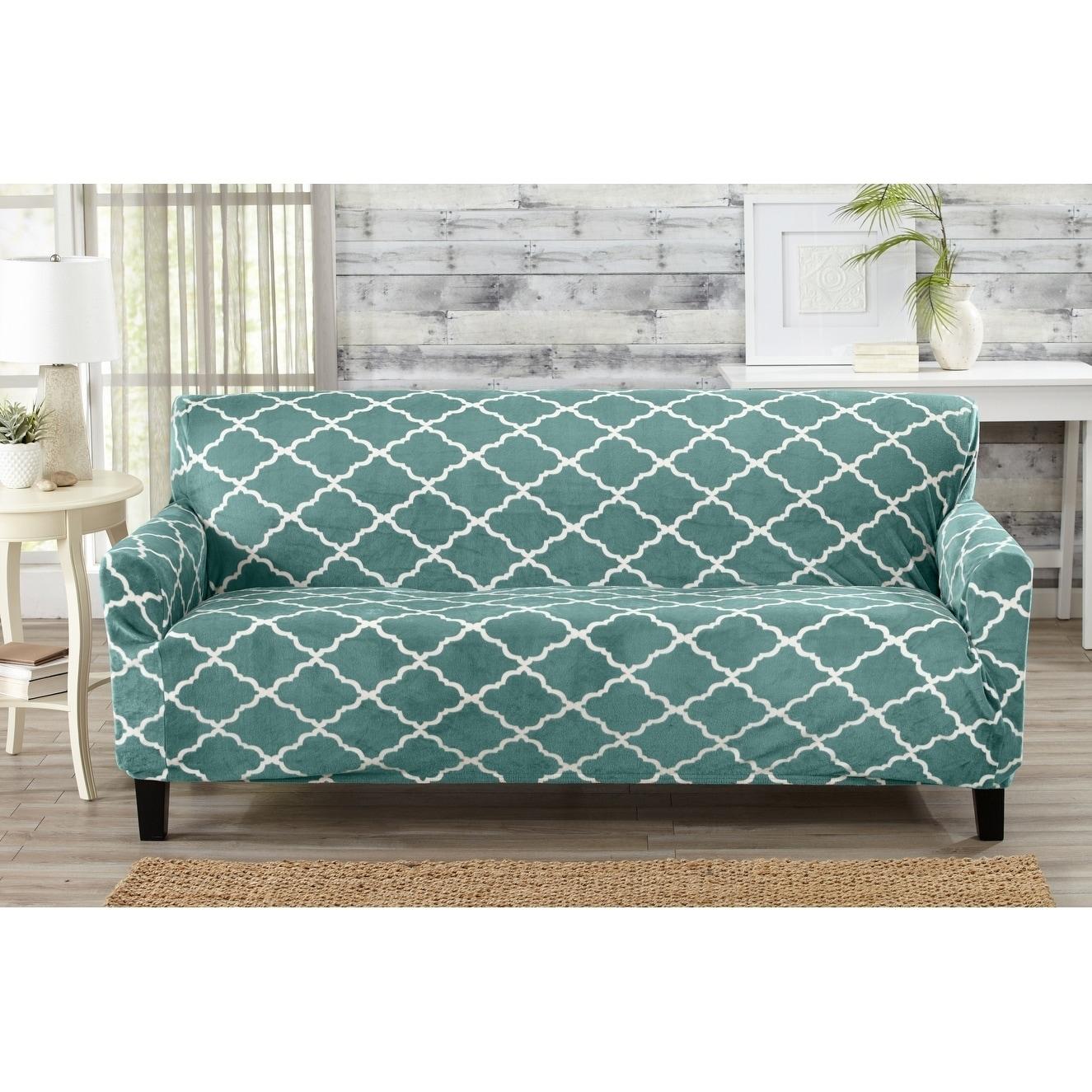 Printed Velvet Plush Form Fit Stretch Sofa Slipcover Magnolia  ~ Turquoise Slipcover Sofa