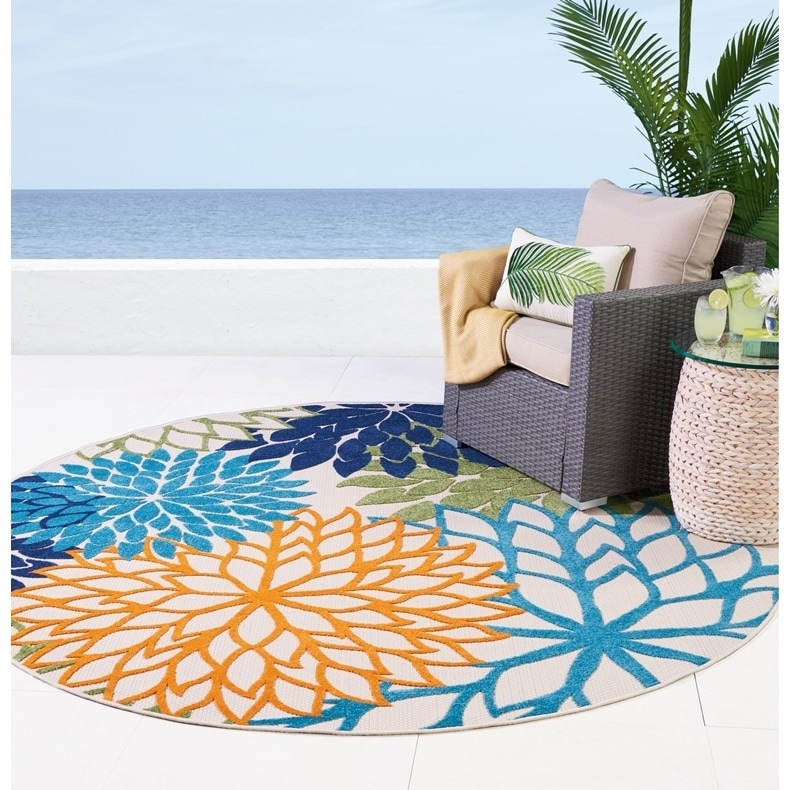 Nourison Aloha Fl Indoor Outdoor Area Rug 7 10 Round Free Shipping Today 24707774