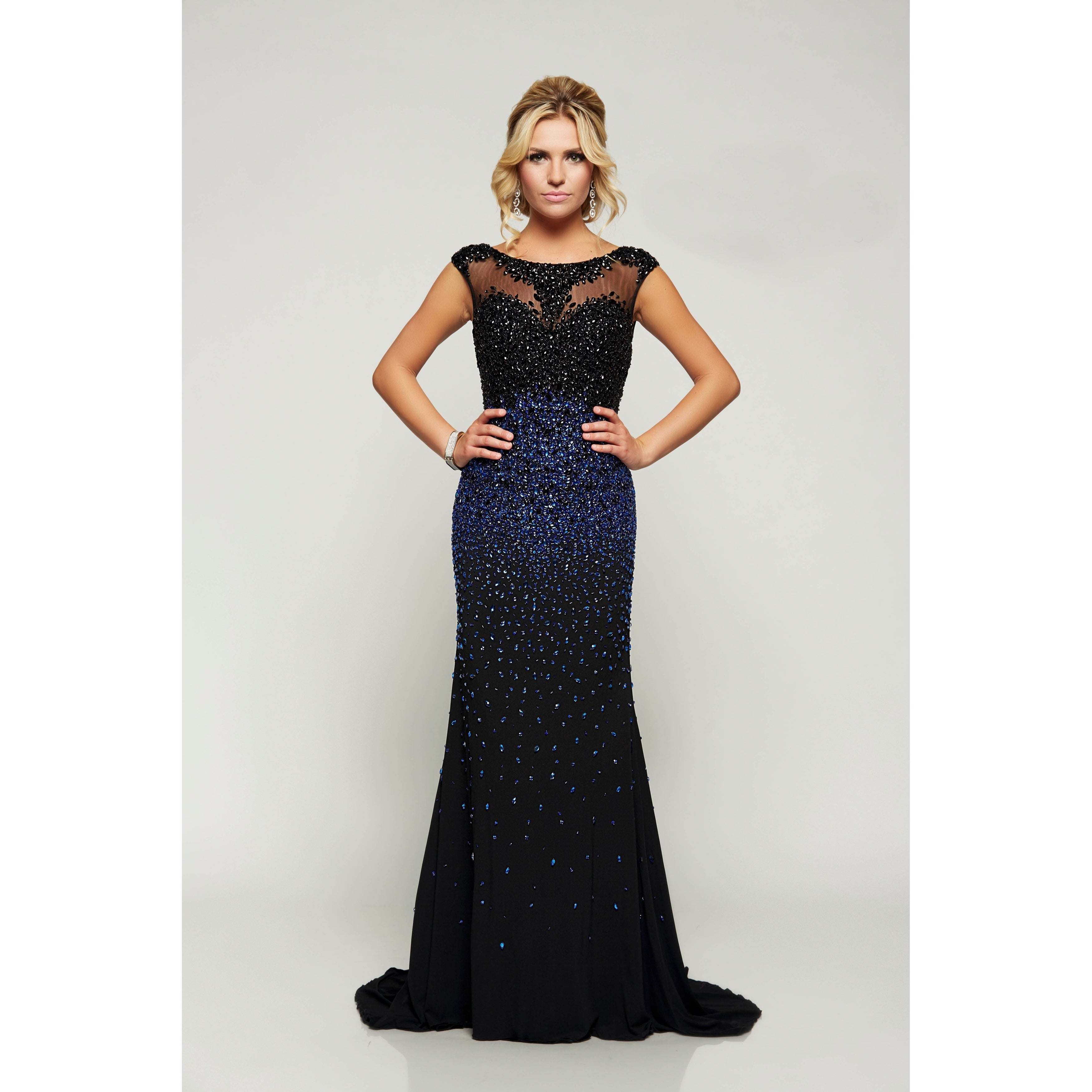 Shop Beaded Cap Sleeve Gown - Free Shipping Today - Overstock.com ...