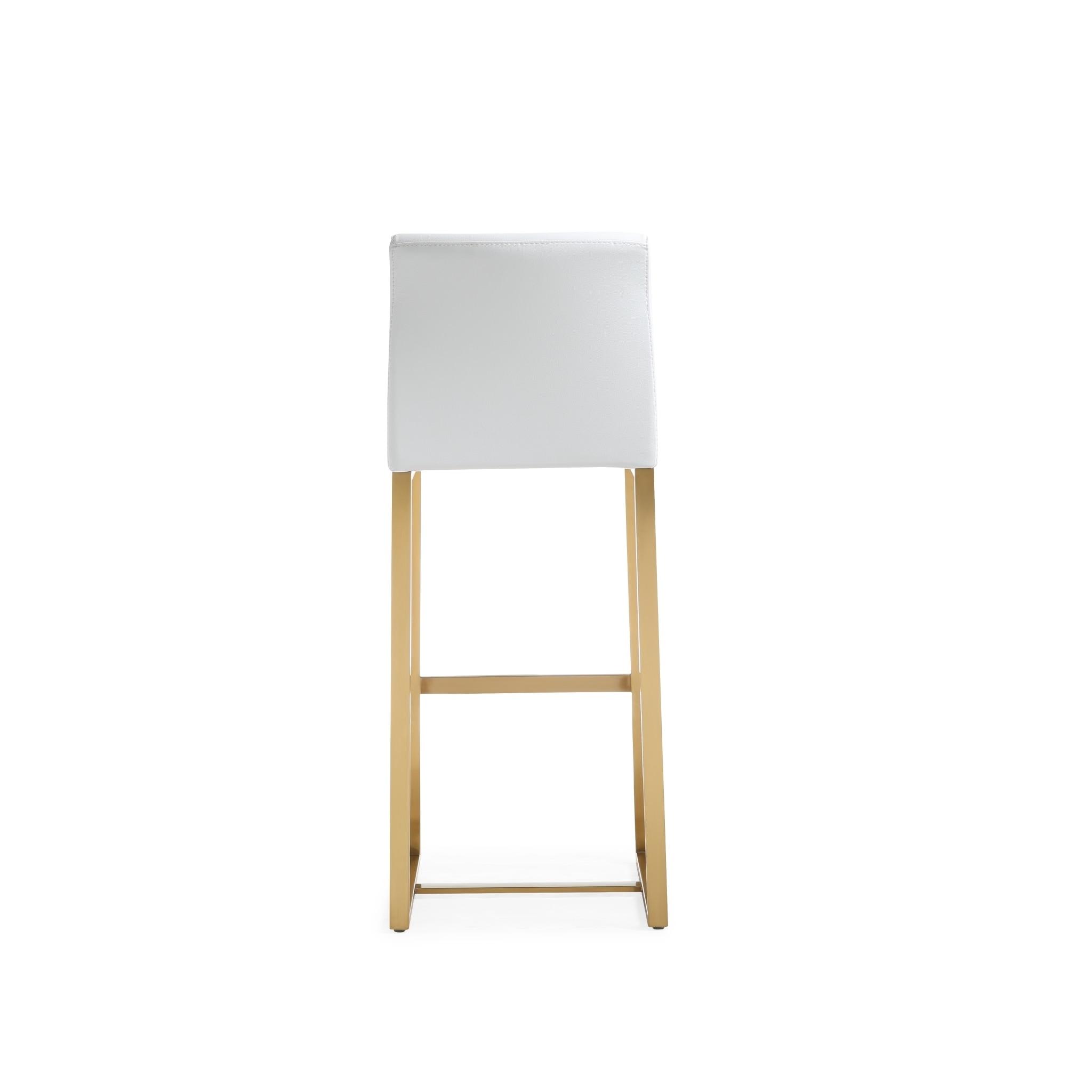 Shop Denmark White Gold Steel Barstool Set Of 2 Free Shipping