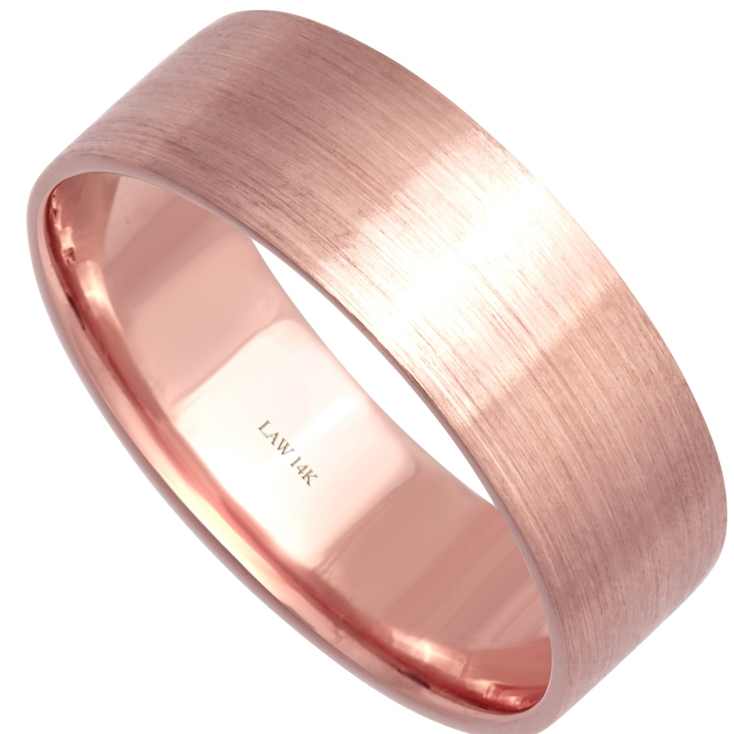 Shop 14k Rose Gold Flat Satin Comfort-fit Women\'s Wedding Bands ...