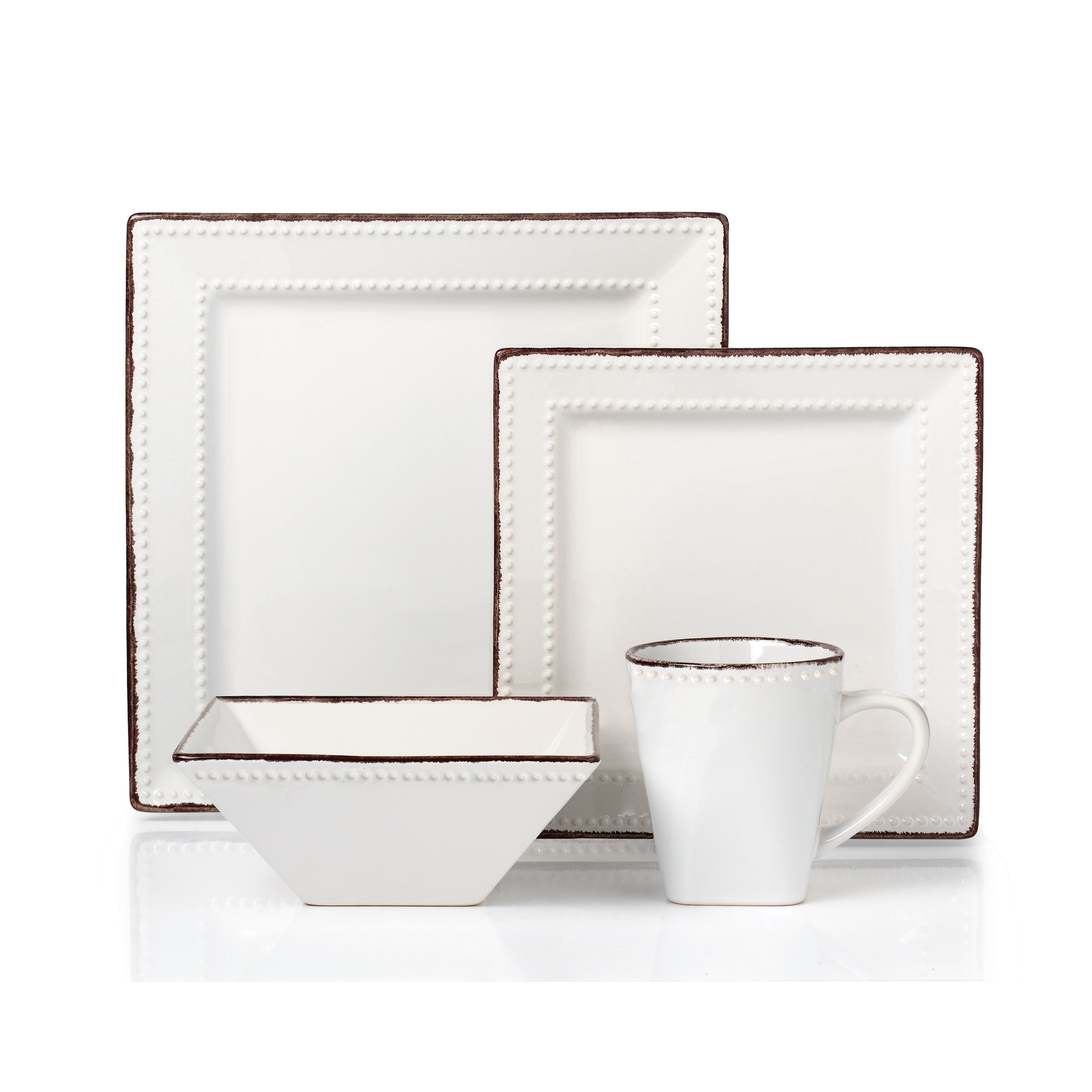 Shop 16 Piece Beaded Stoneware Dinnerware set by Lorren Home Trends White - On Sale - Free Shipping Today - Overstock.com - 18612822  sc 1 st  Overstock & Shop 16 Piece Beaded Stoneware Dinnerware set by Lorren Home Trends ...