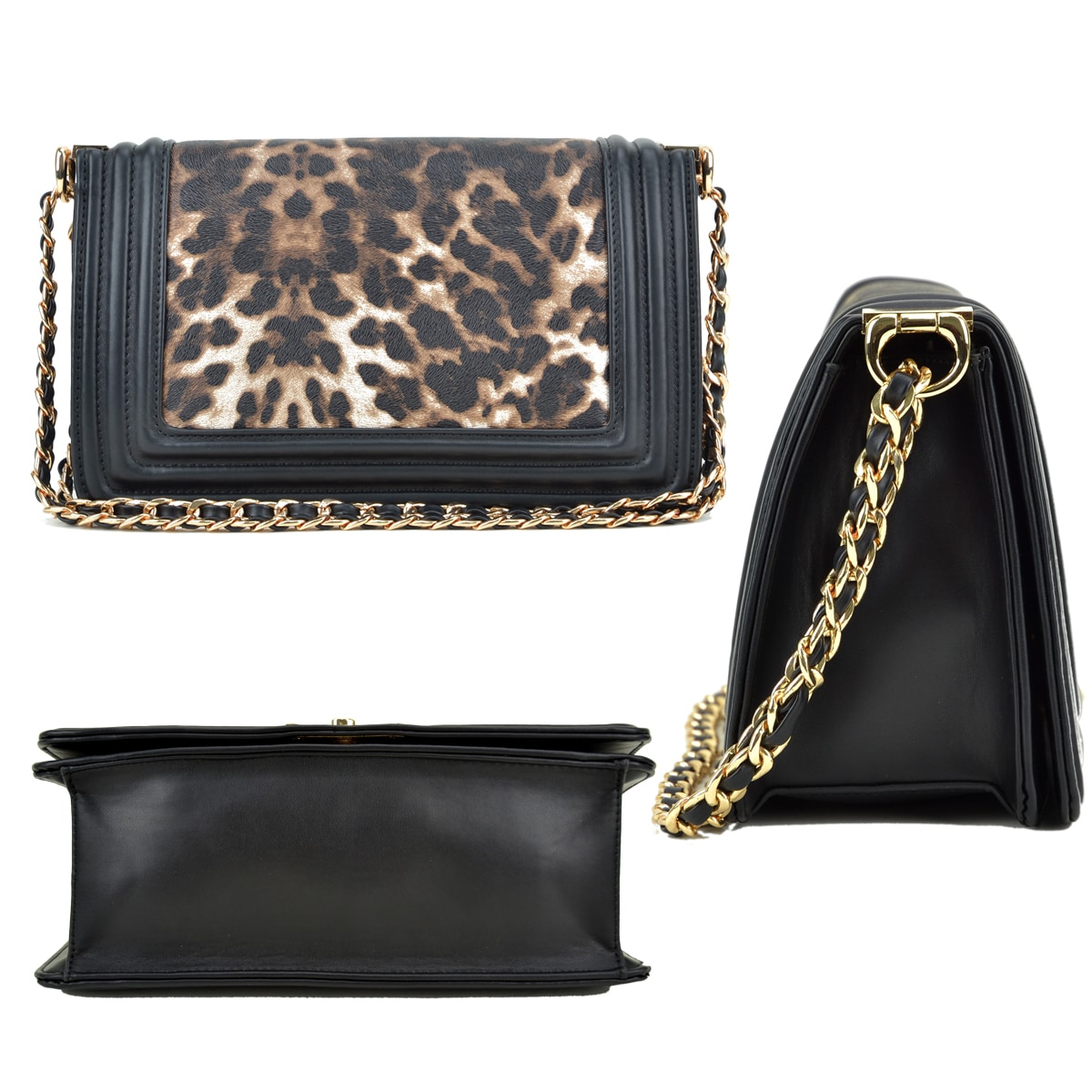 f7aff58f8215 Shop Dasein Quilted Intertwined Leather Gold-Tone Chain Strap Leopard  Crossbody Handbag - On Sale - Free Shipping On Orders Over  45 - Overstock  - 18613684