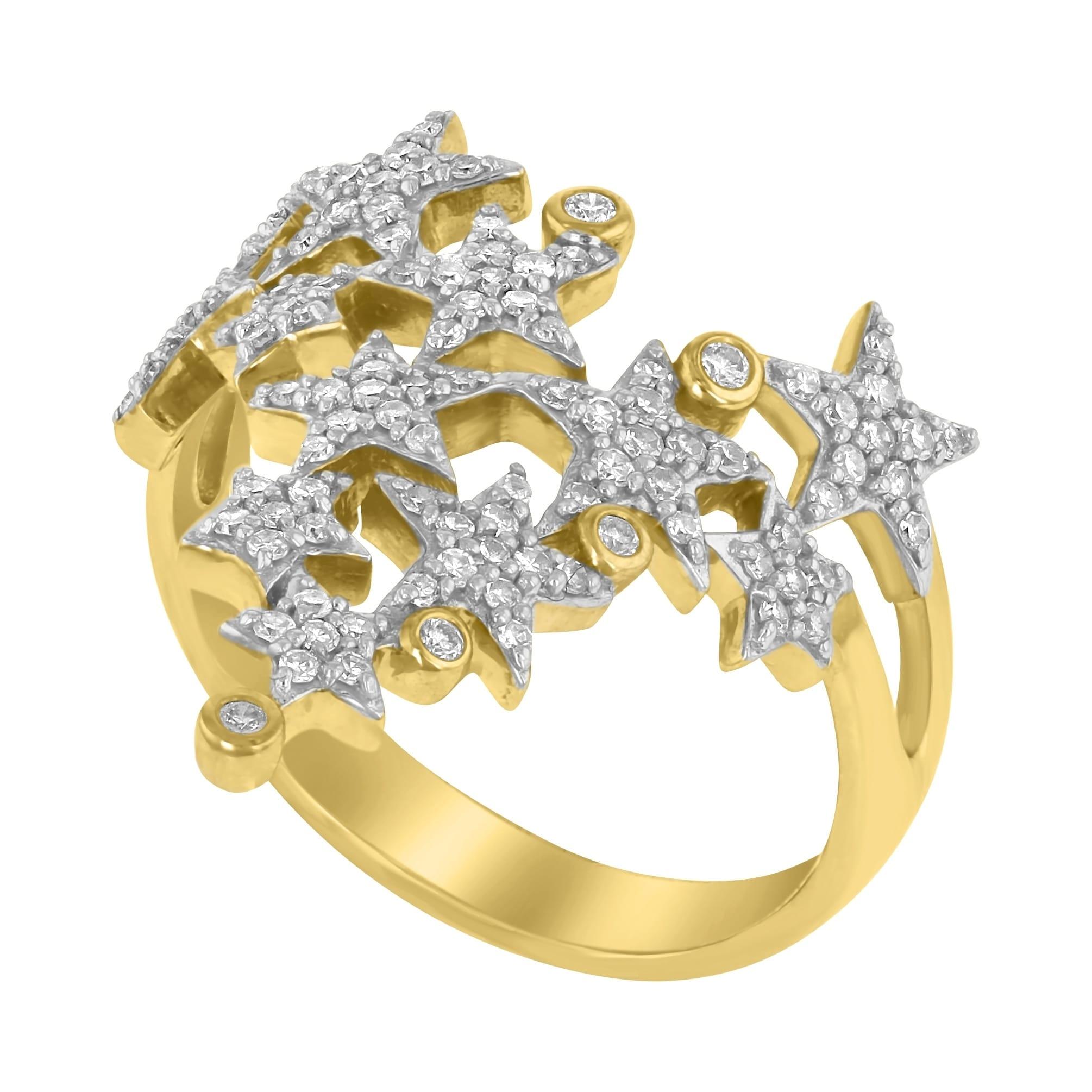 Shop 14k Yellow Gold 12ct Tdw Climbing Star V Shape Diamond Ring