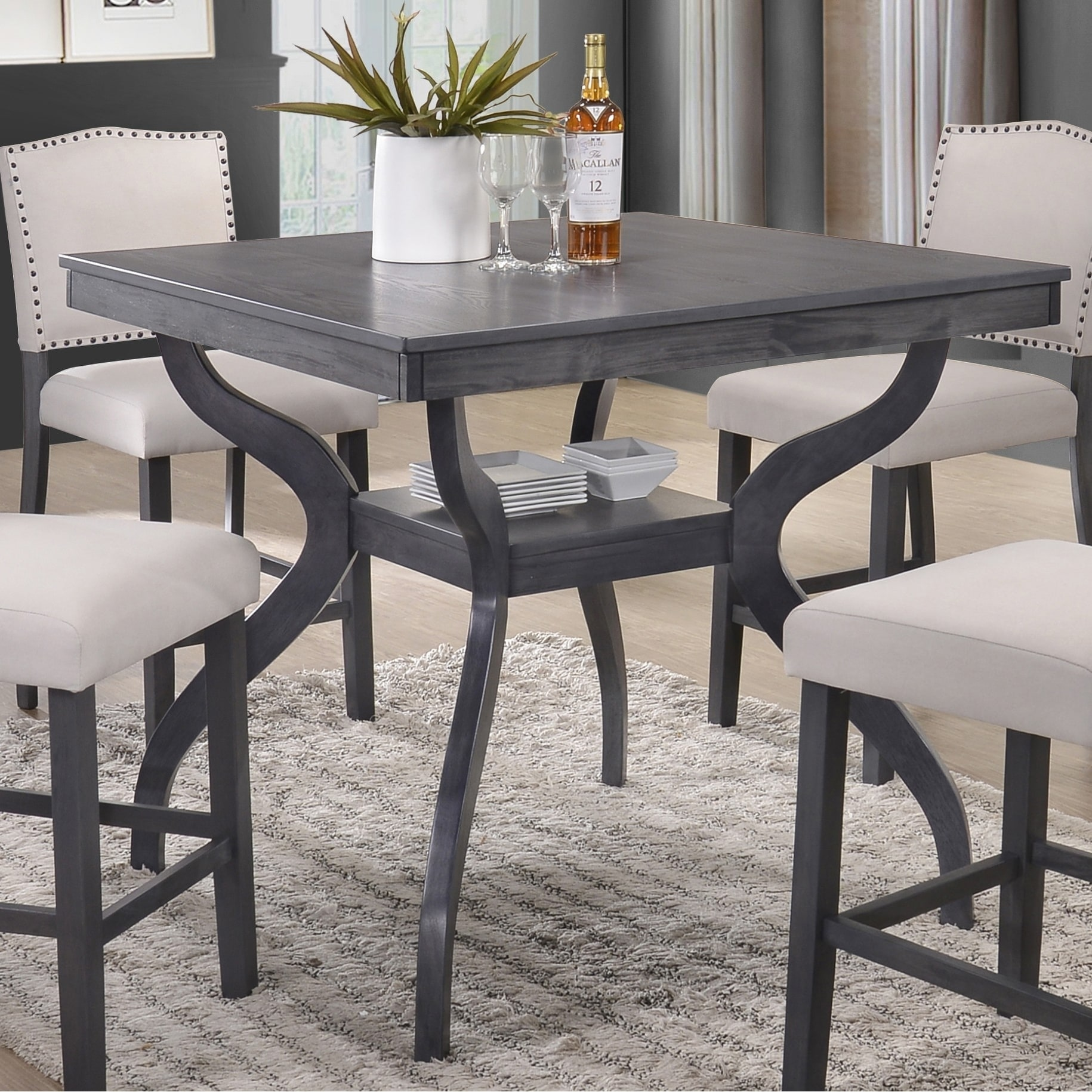 Shop best quality furniture contemporary dining table with storage shelf light grey free shipping today overstock com 18616031