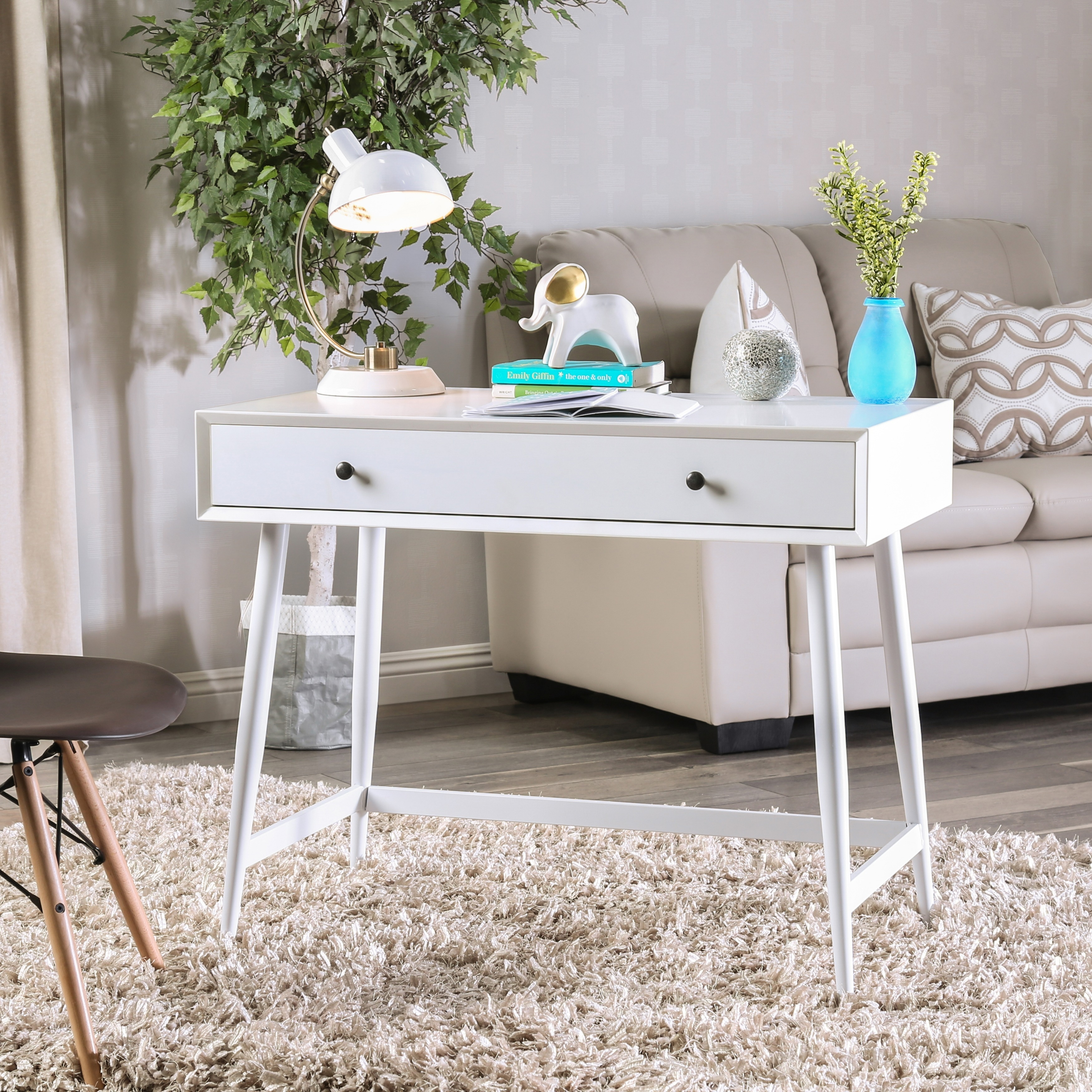 Furniture Of America Cuperan Mid Century Modern Glossy White Wood Writing Desk Free Shipping Today 24715594