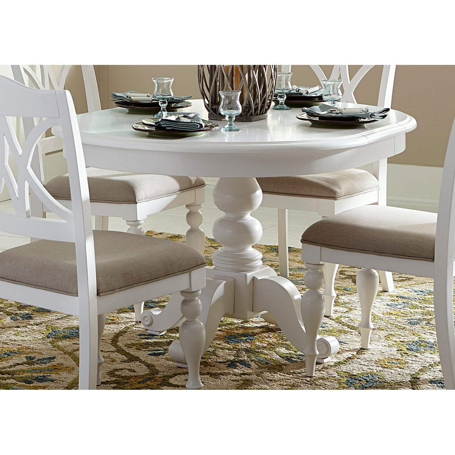 Summer House Oyster White Round Pedestal Dining Table