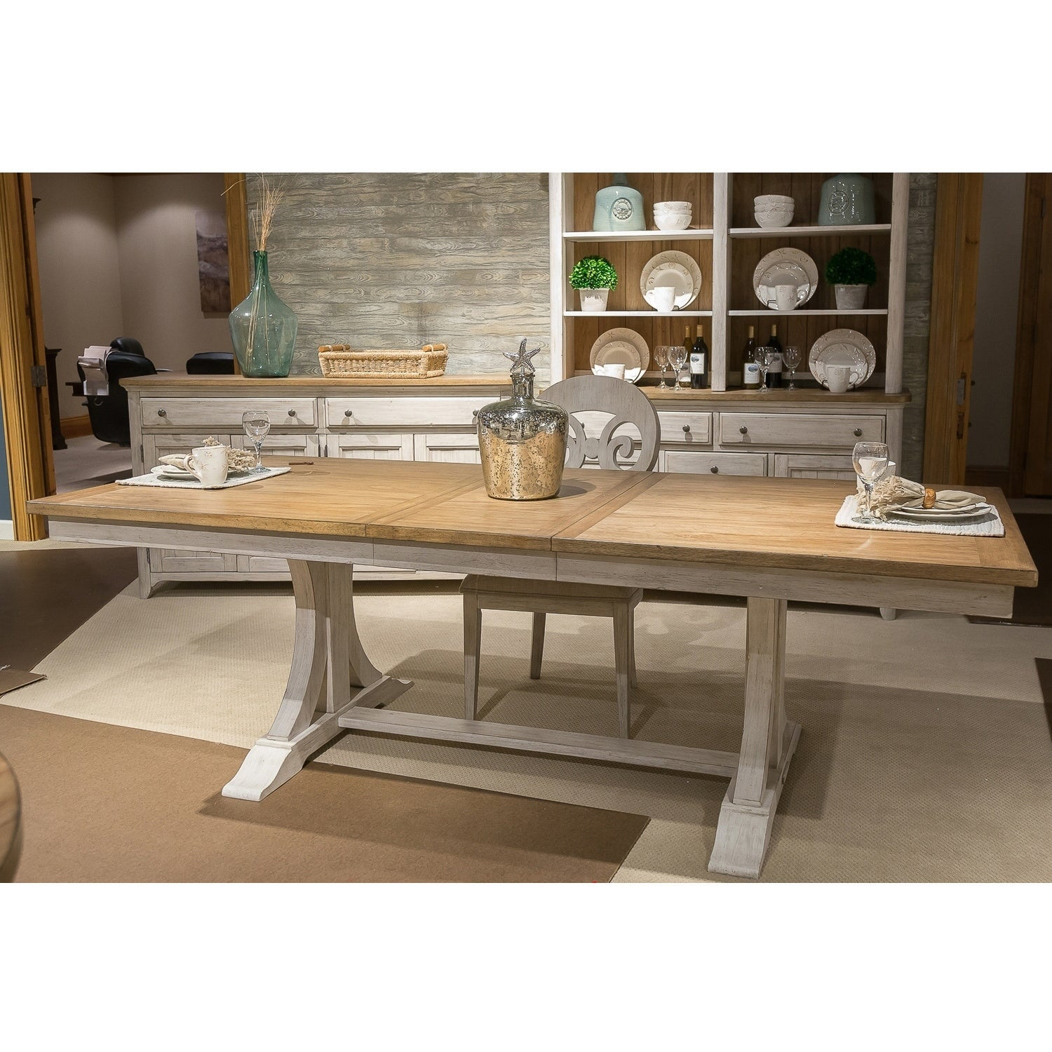 Attrayant Farmhouse Reimagined Antique White And Chestnut Trestle Dining Table    Antique White