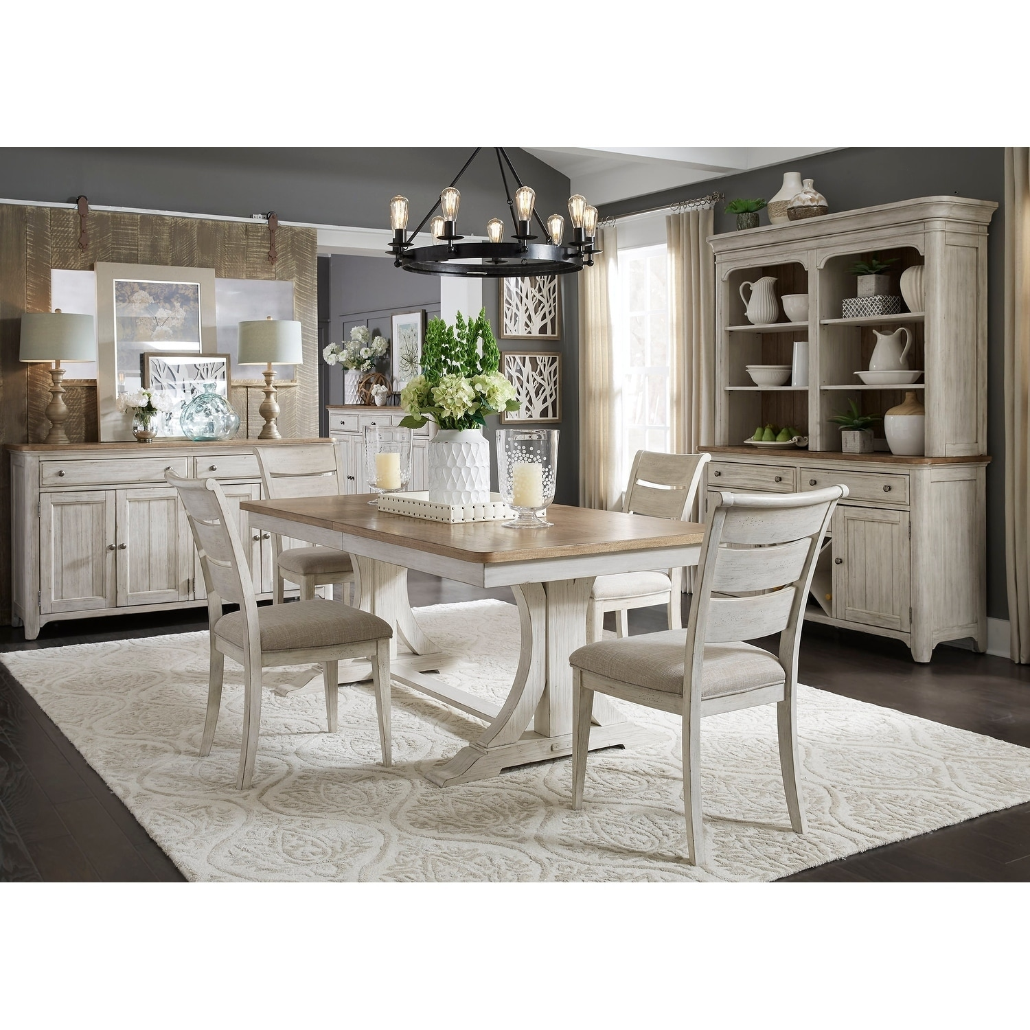 Shop Farmhouse Antique Two-toned Opt 5-piece Trestle Table Dining Set - On Sale - Free Shipping Today - Overstock.com - 18620103  sc 1 st  Overstock & Shop Farmhouse Antique Two-toned Opt 5-piece Trestle Table Dining ...