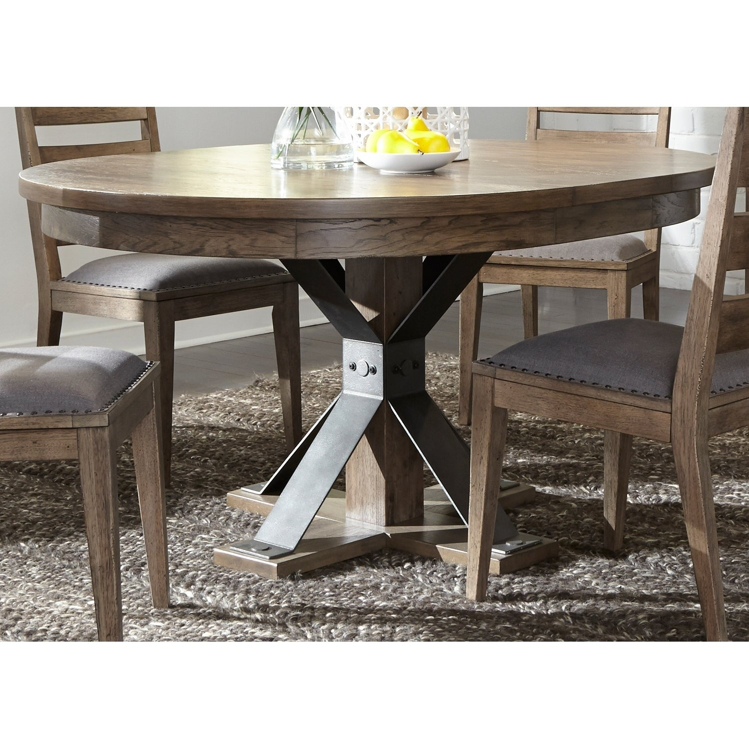 Shop Sonoma Road Weather Beaten Bark And Metal Pedestal Table Set (5 Piece  Set)   Free Shipping Today   Overstock.com   18620302
