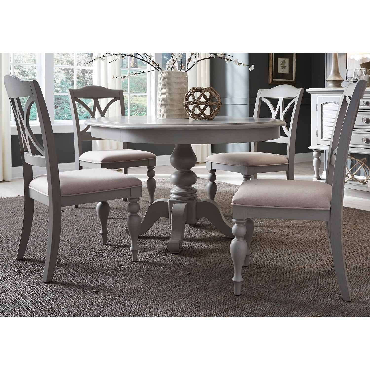 Summer House Dove Grey Round 5 Piece Pedestal Table Set On Free Shipping Today 18620303