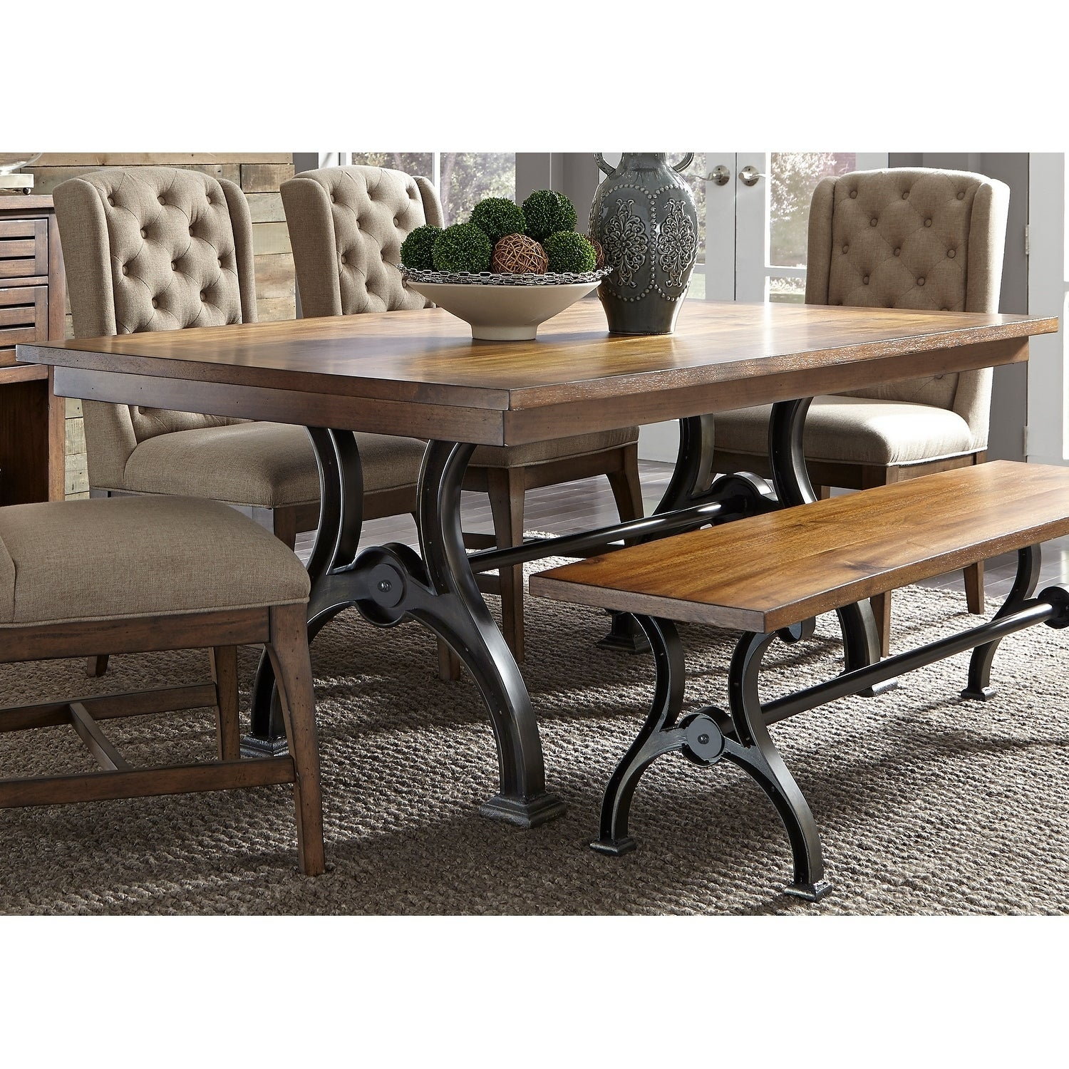 Shop Arlington House Cobblestone Brown 6 Piece Trestle Table Set With Bench    On Sale   Free Shipping Today   Overstock   18620346