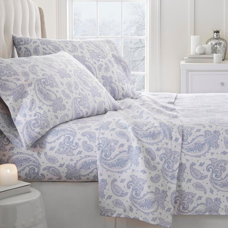 Shop Merit Linens Premium Paisley Pattern 4 Piece Flannel Bed Sheet Set    Free Shipping Today   Overstock   18620680