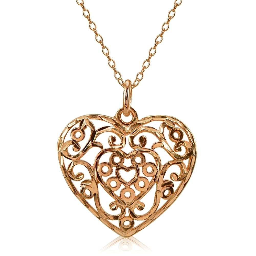 Mondevio high polished diamond cut filigree heart pendant necklace mondevio high polished diamond cut filigree heart pendant necklace in sterling silver free shipping on orders over 45 overstock 24747934 aloadofball Gallery