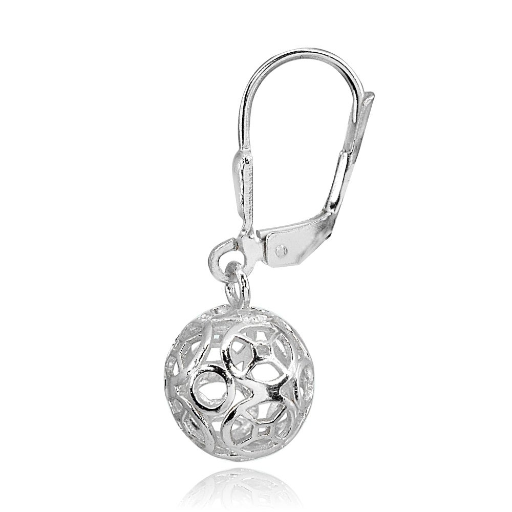 Shop Mondevio Polished Filigree Hollow Ball Dangle Leverback Earrings in Sterling Silver - On Sale - Free Shipping On Orders Over $45 - Overstock - 18652860
